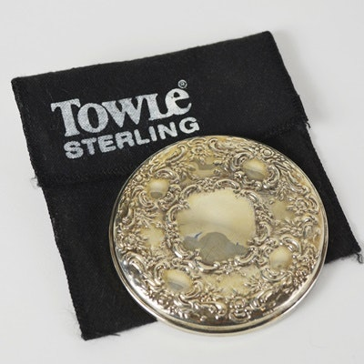 Towle Sterling Silver Compact Style Round Mirror