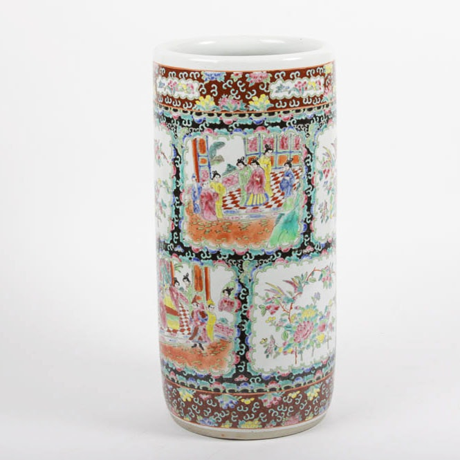 Large Chinese Hand-Painted Porcelain Vase