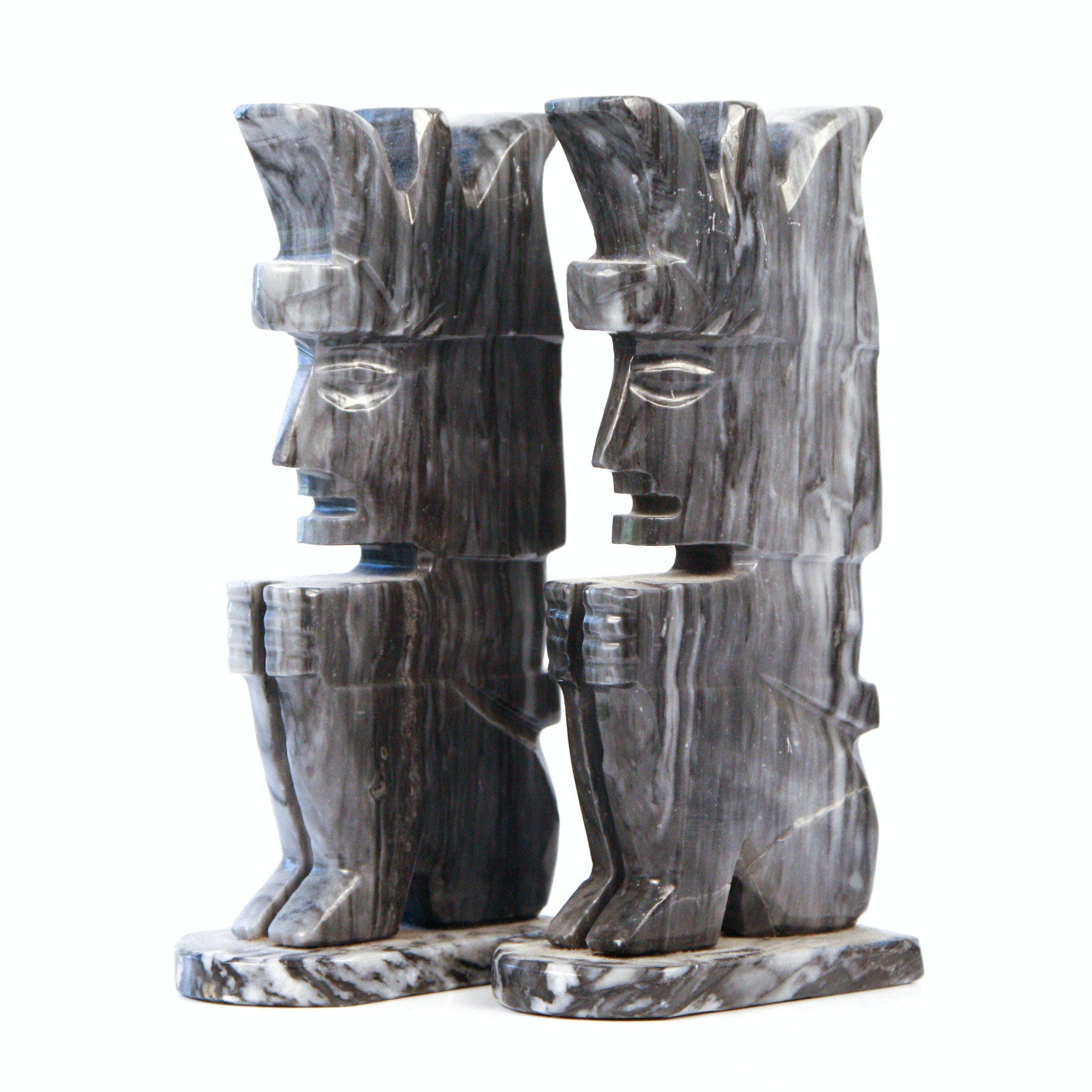 Pair of Vintage Figural Carved Marble Bookends