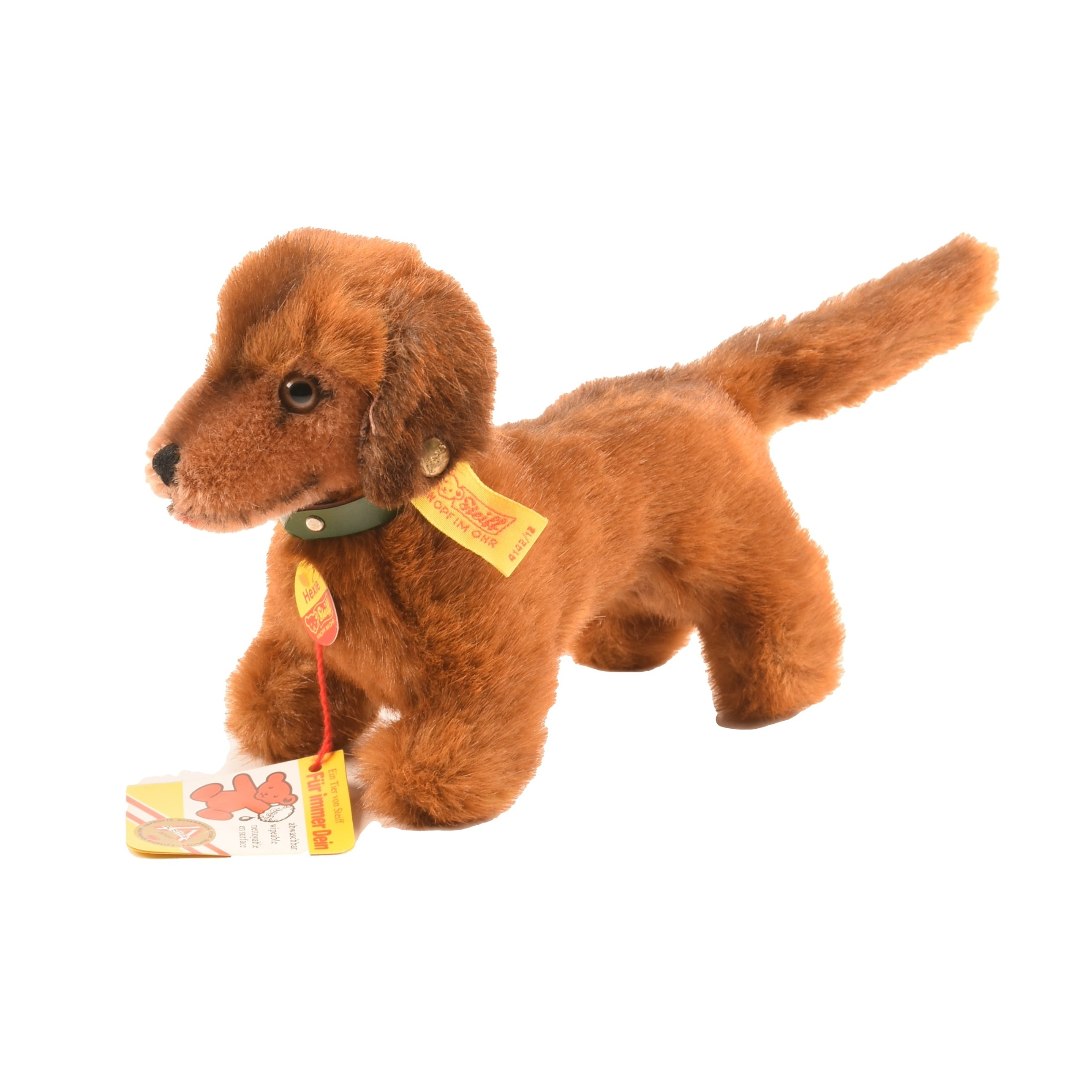 """Steiff Mohair """"Hexi"""" Dachsund with Button and Tag"""