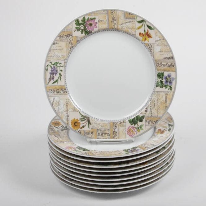 Set of Royal Worcester Fine Porcelain Dinner Plates