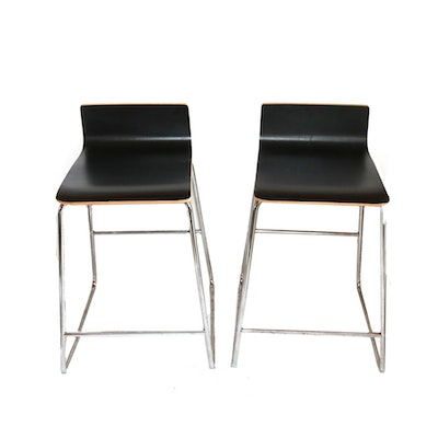 Black Wood Veneer Bar Stools