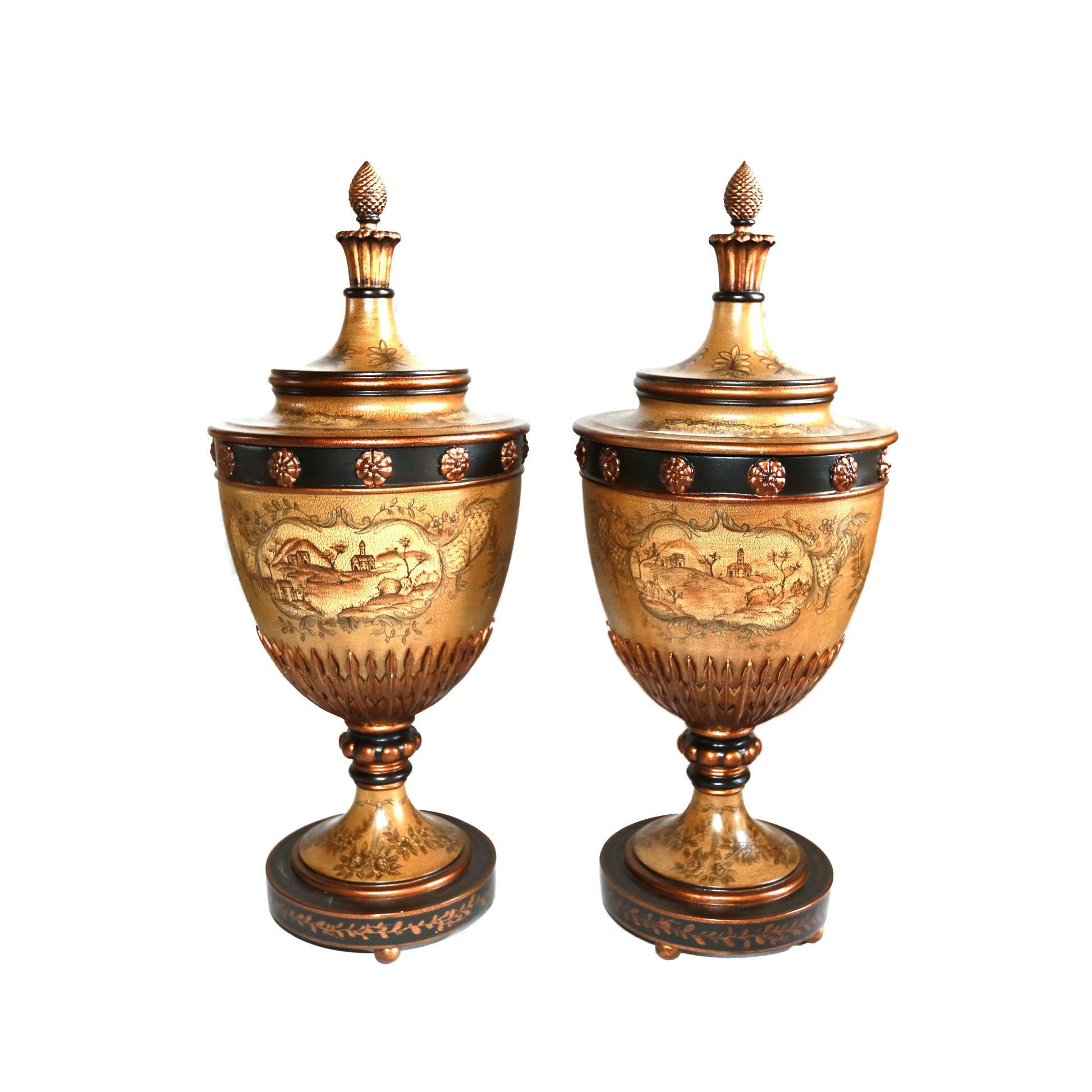 Pair of Large Painted Urn Style Jars
