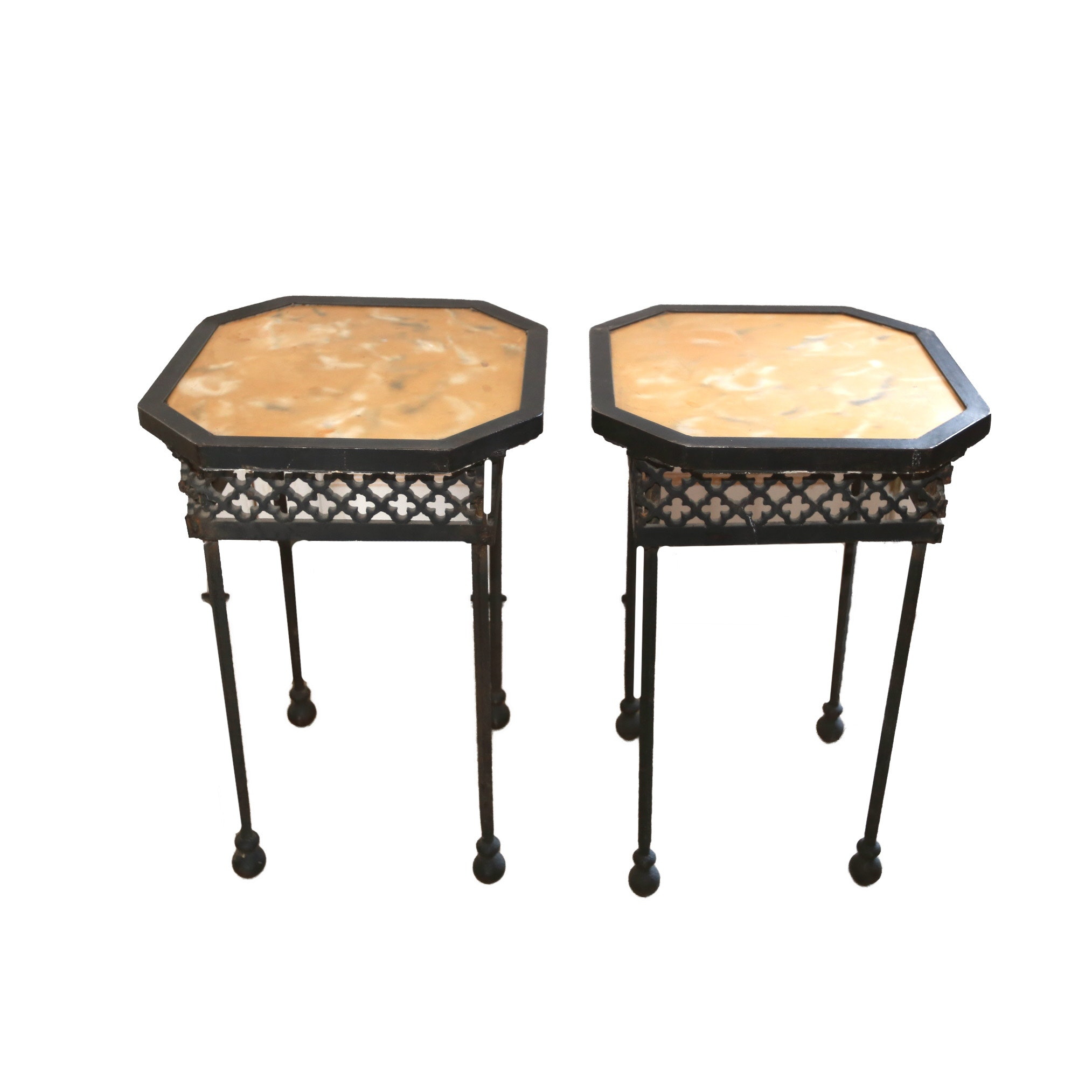 Cast Iron End Tables With Cement Tops