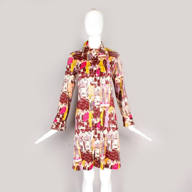 1970s Geoffrey Beene Novelty Print Shirt Dress