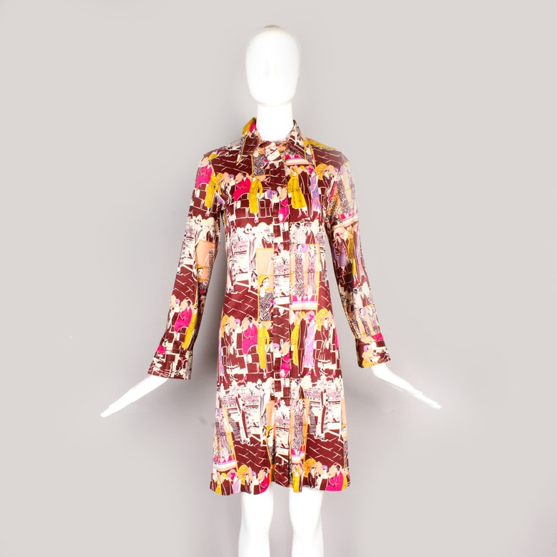 1970s Geoffrey Beene Novelty Print Shirt Dress
