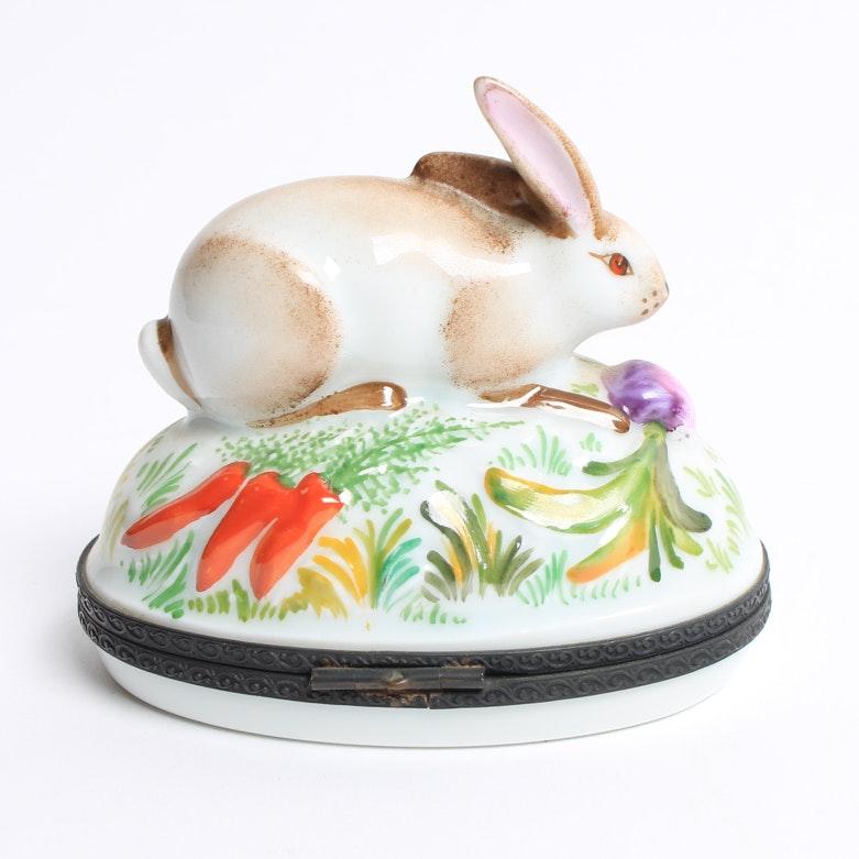 Limoges Rabbit Trinket Box