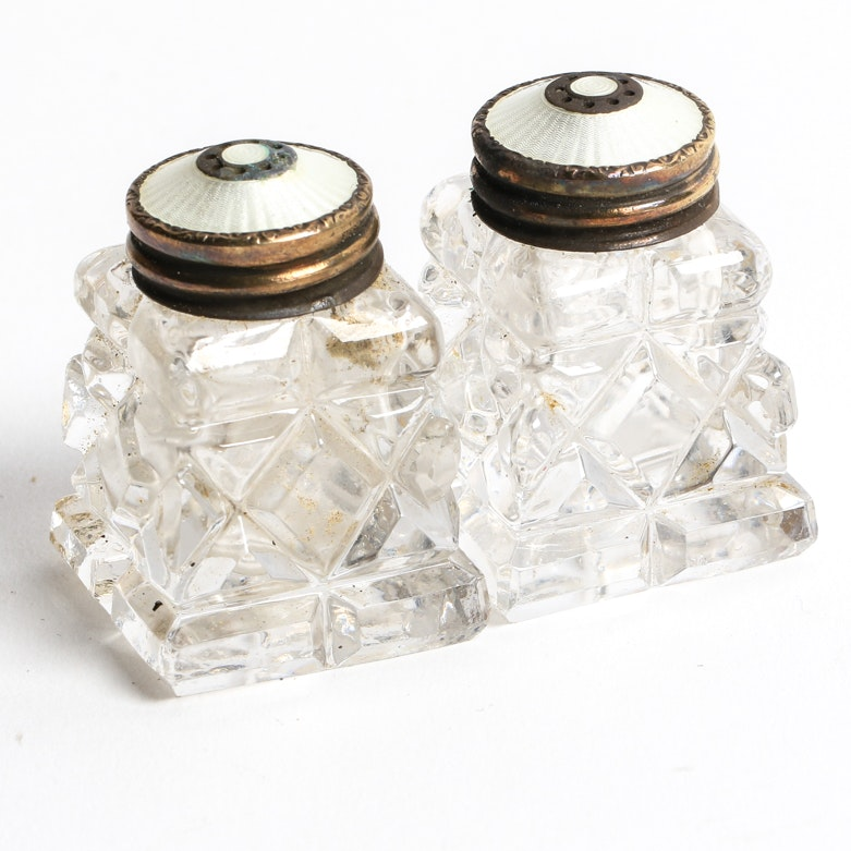 Vintage Norweigan Sterling Silver and Cut Glass Salt and Pepper Shakers