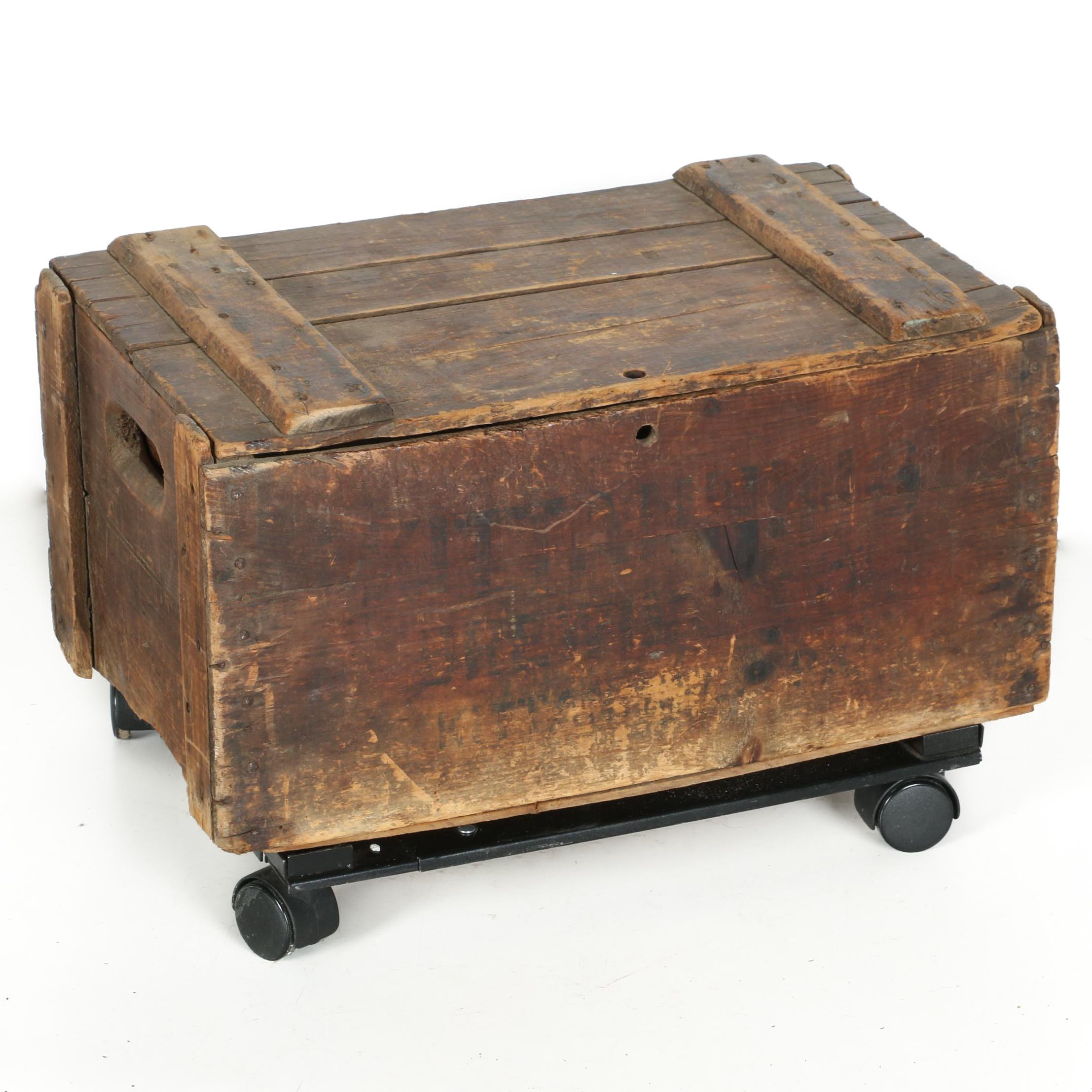 Vintage Wooden Crate on Contemporary Caster Base