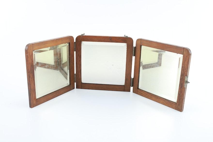 Antique Oak Triptych Mirror Ebth