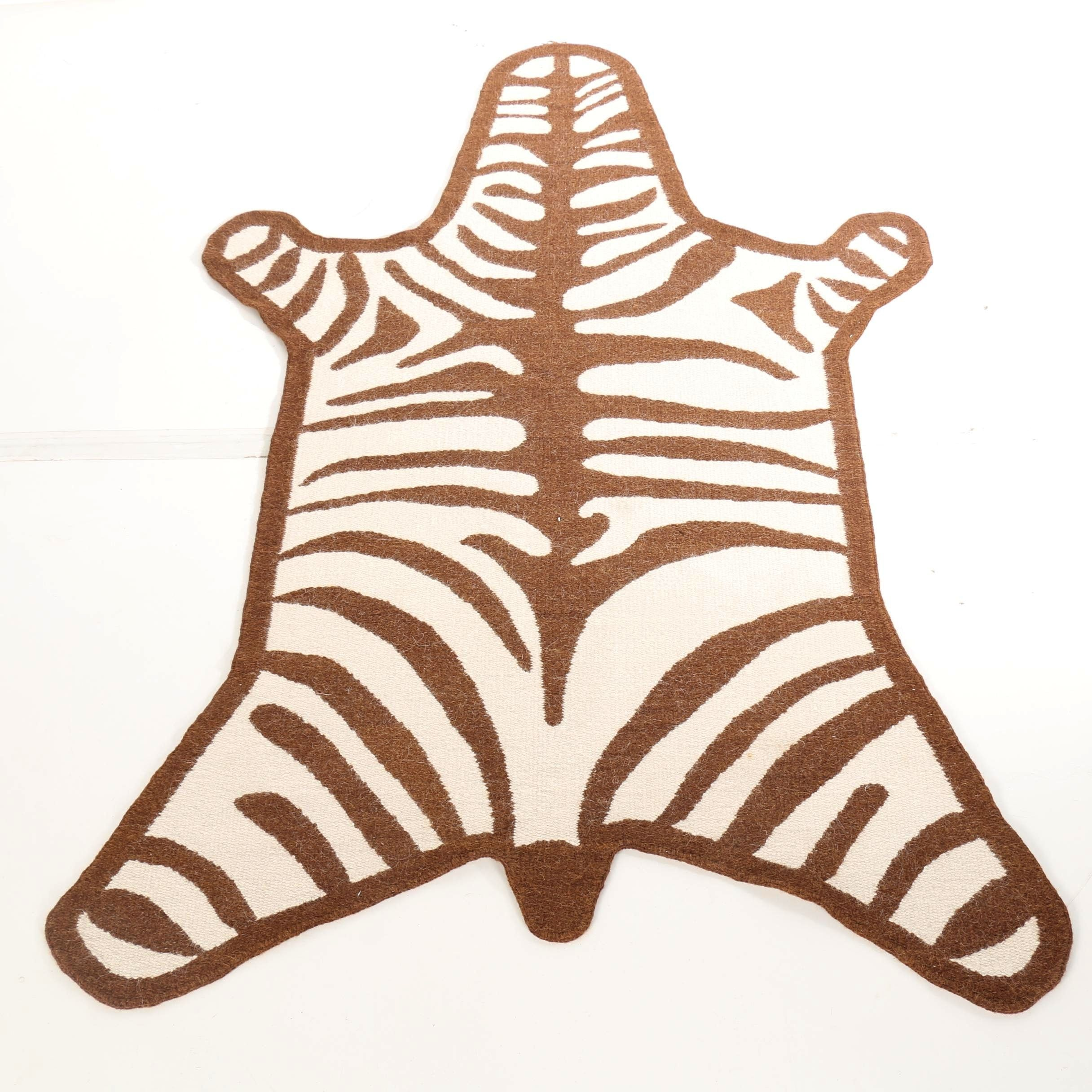 "Jonathan Adler ""Zebra Peruvian llama"" Flat Weave Rug"