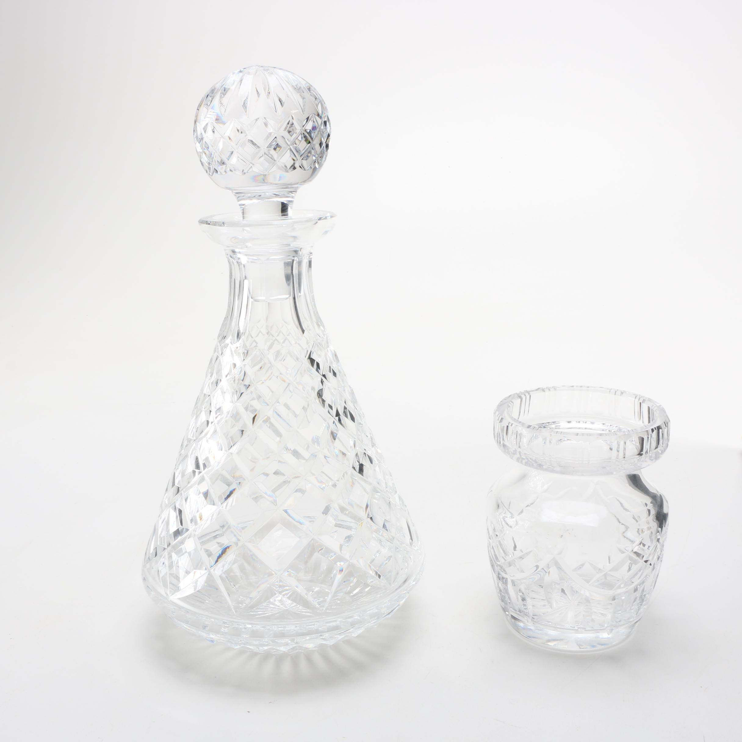 Waterford Crystal Jar and Crystal Decanter