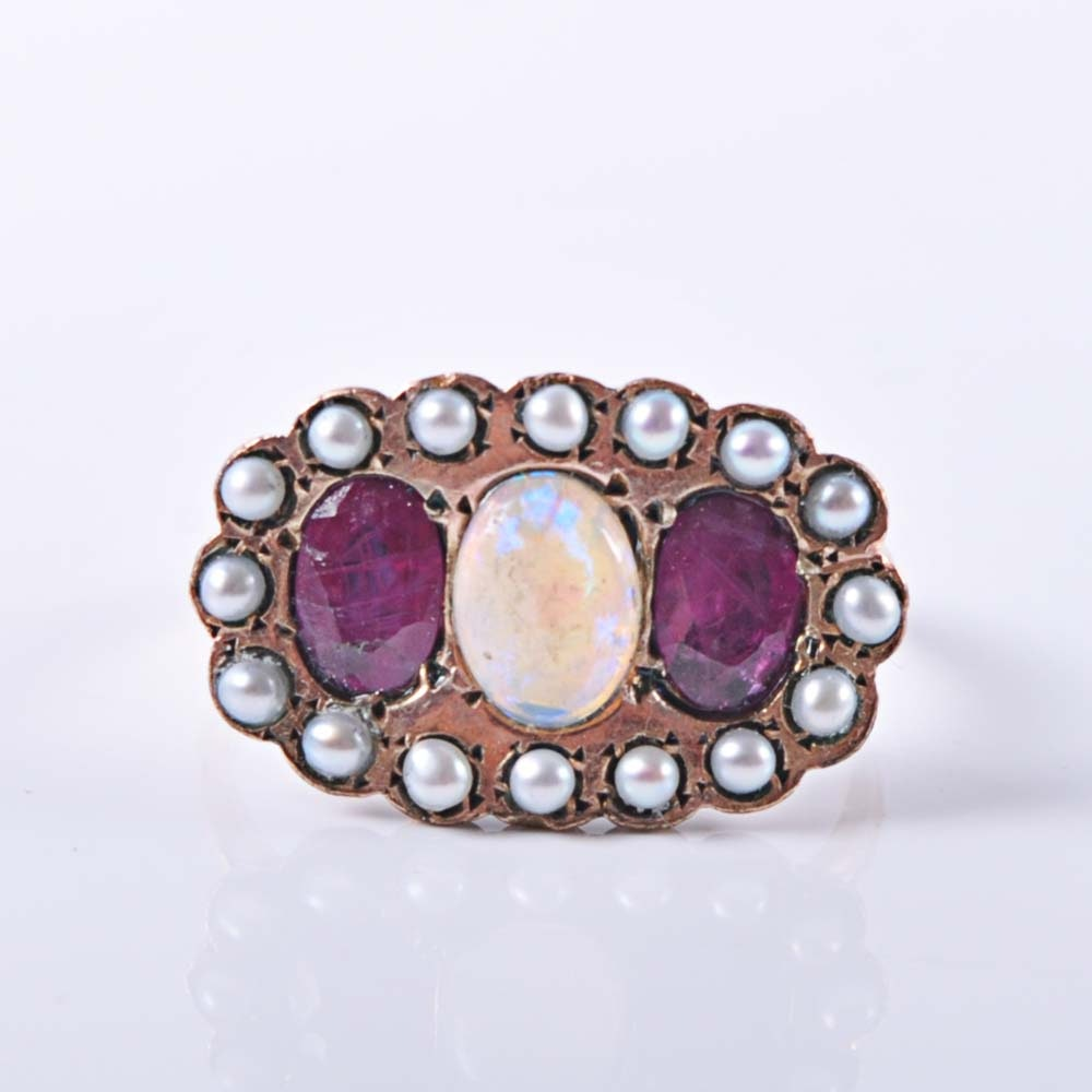 10K Gold Opal, Ruby and Seed Pearl Ring