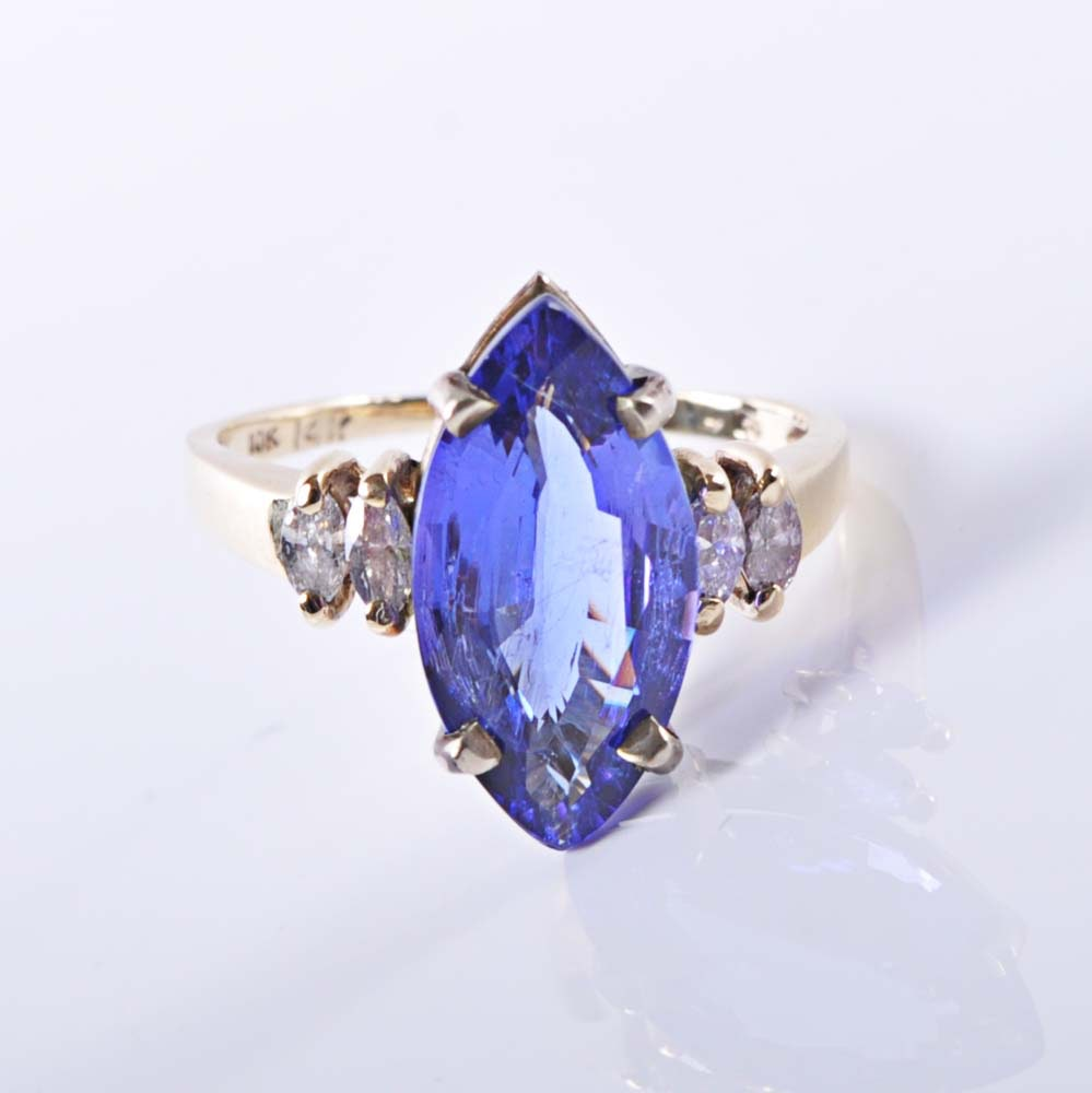 14K and 10K Gold 3.73 CTS Tanzanite and Diamond Ring