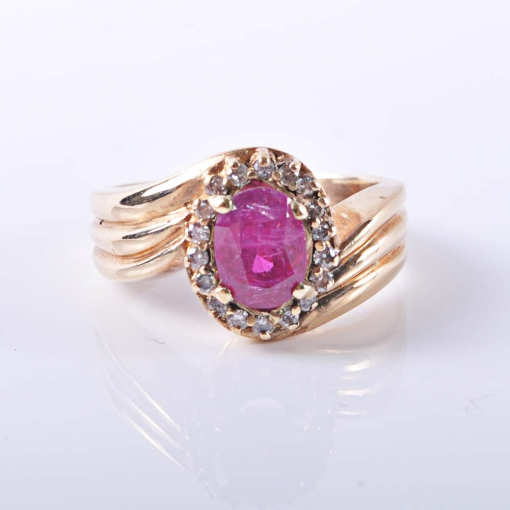 14K Yellow Gold 1.68 Carat Ruby and Diamond Halo Ring