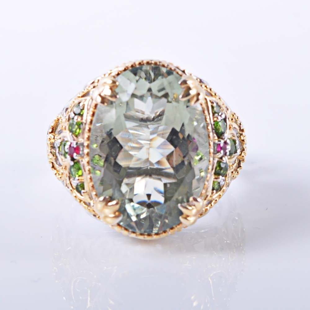 Sterling Silver 11.00 CTS Green Quartz, Ruby and Peridot Ring