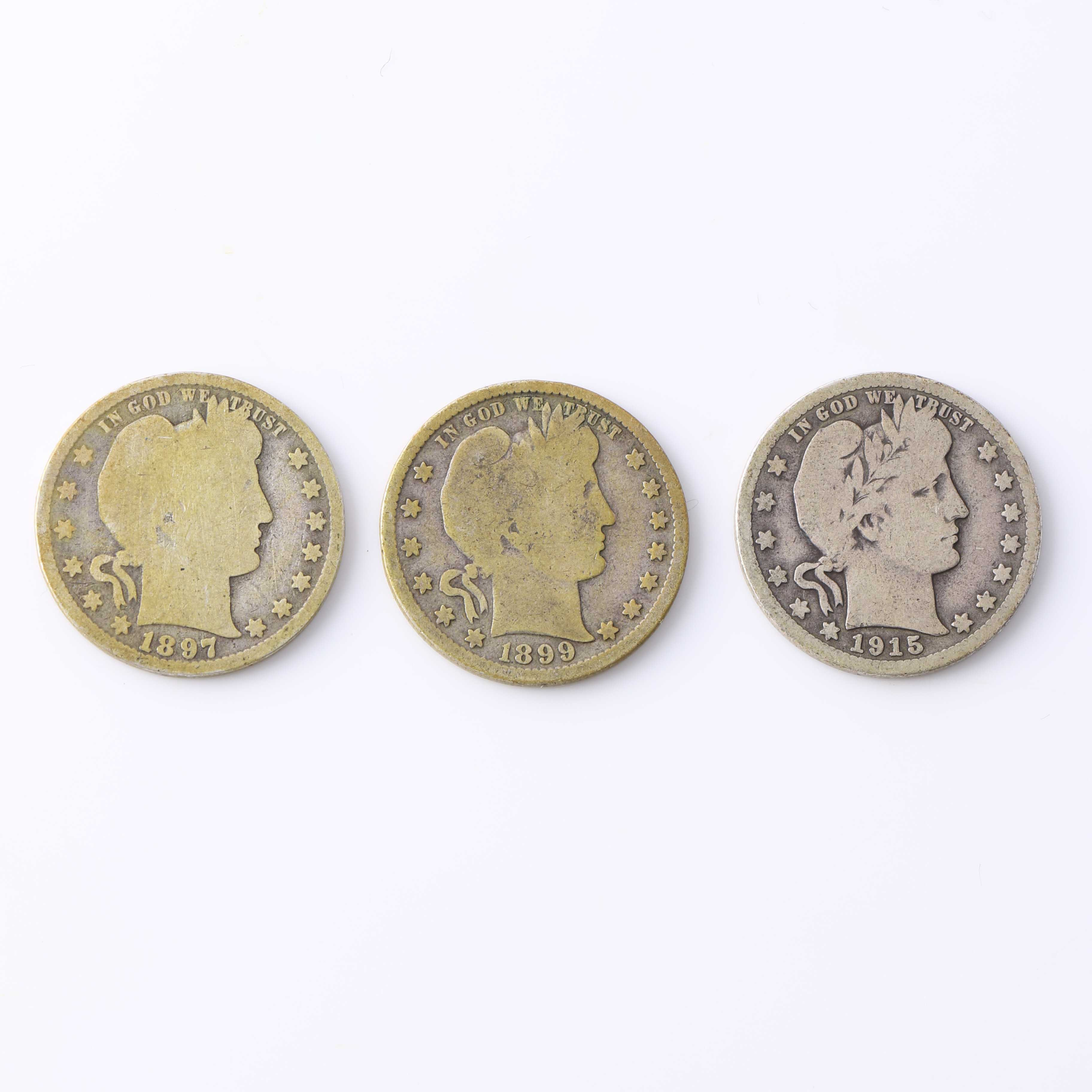 Three Barber Silver Quarters