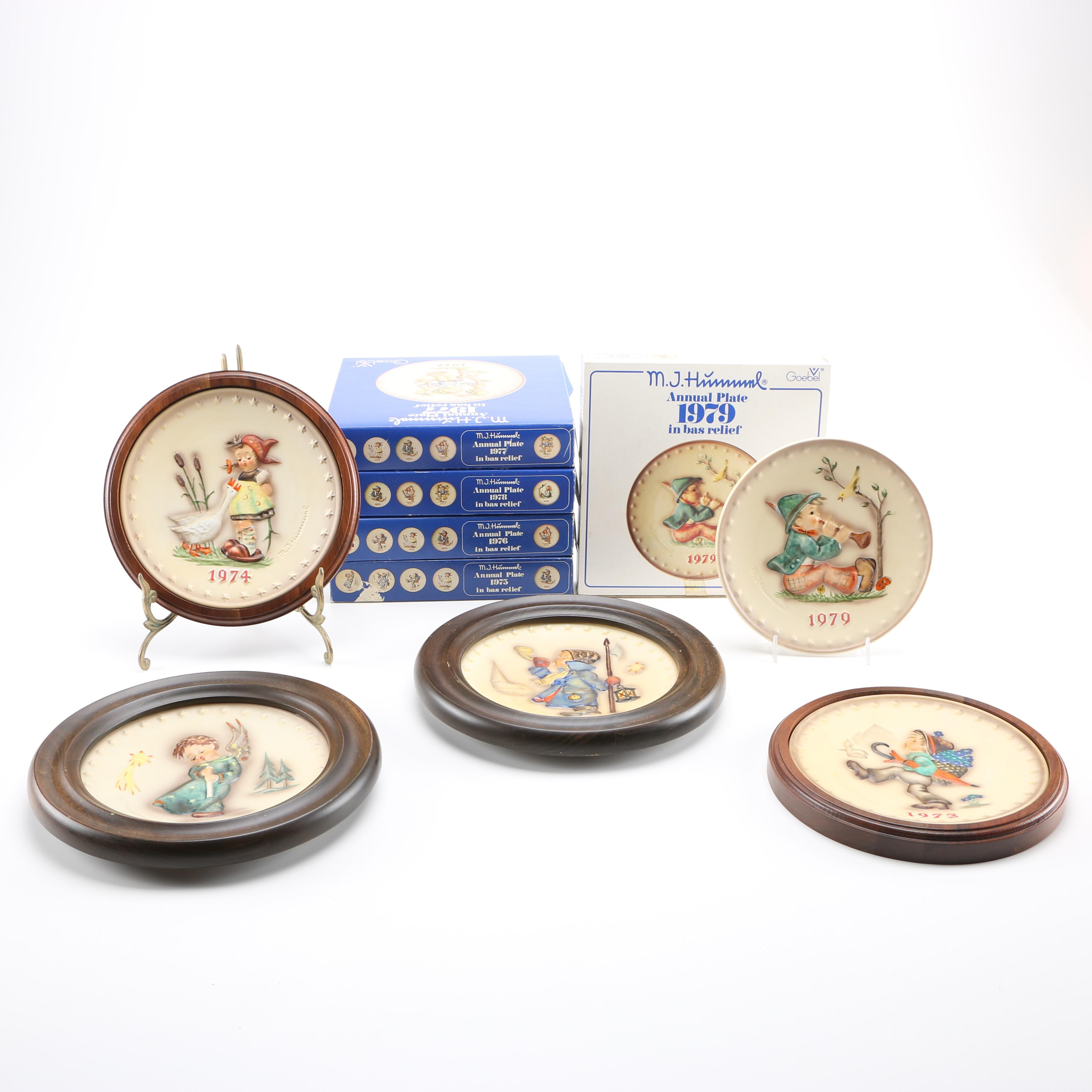 1970s Collection of Nine Annual Christmas Plates by Hummel