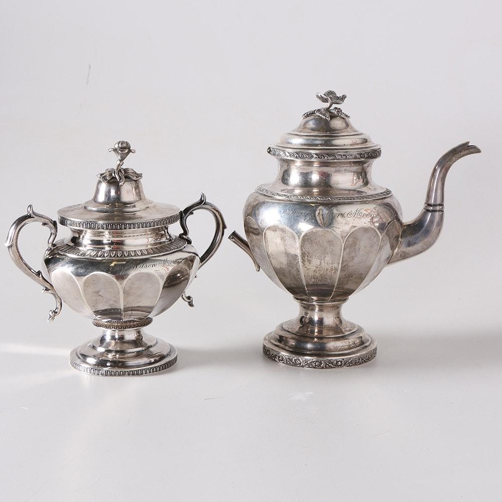 sc 1 st  EBTH.com & Antique Coin Silver Lincoln \u0026 Foss Teapot and John C Moore Sugar ...