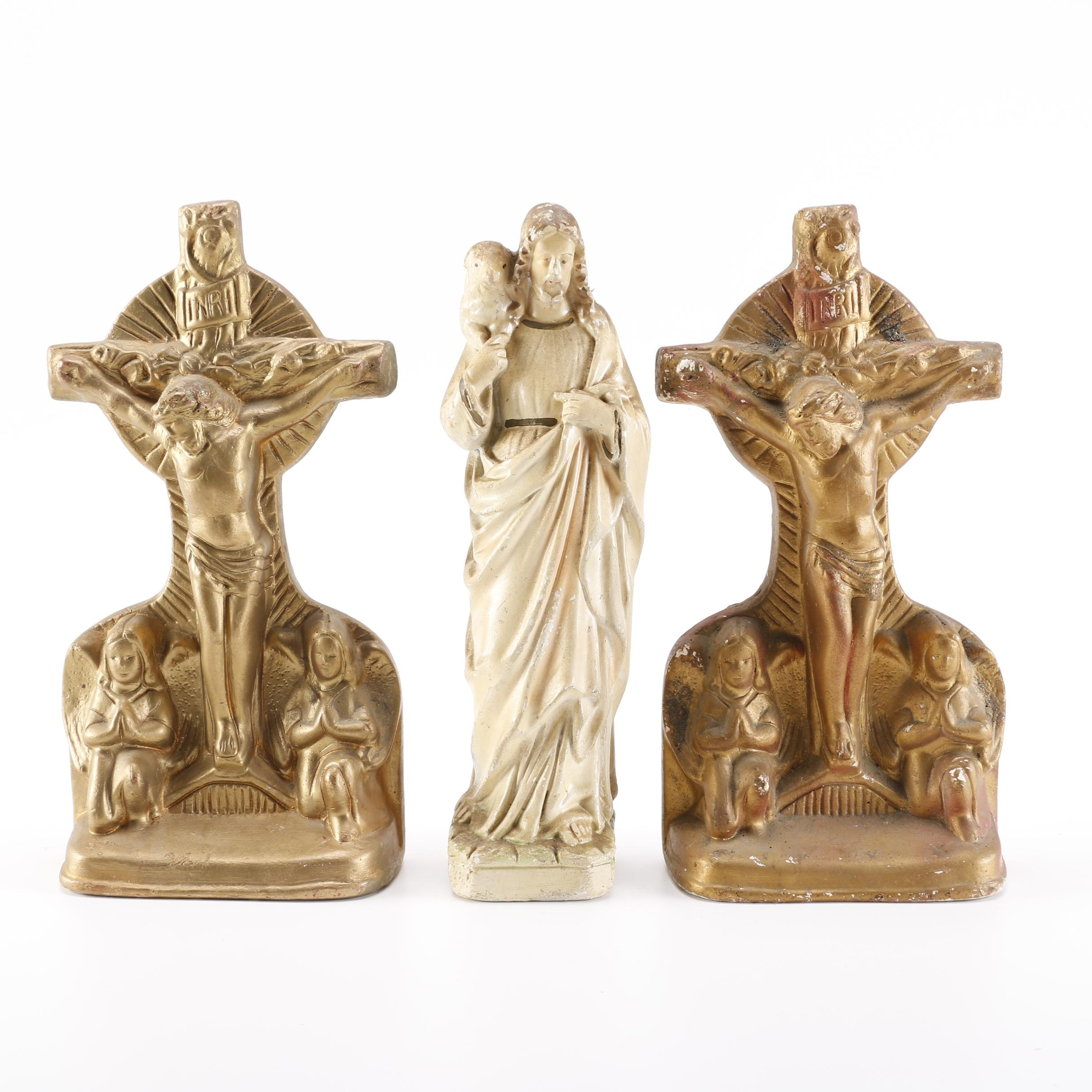 Jesus Christ Ceramic Figurine and Crucifix Bookends