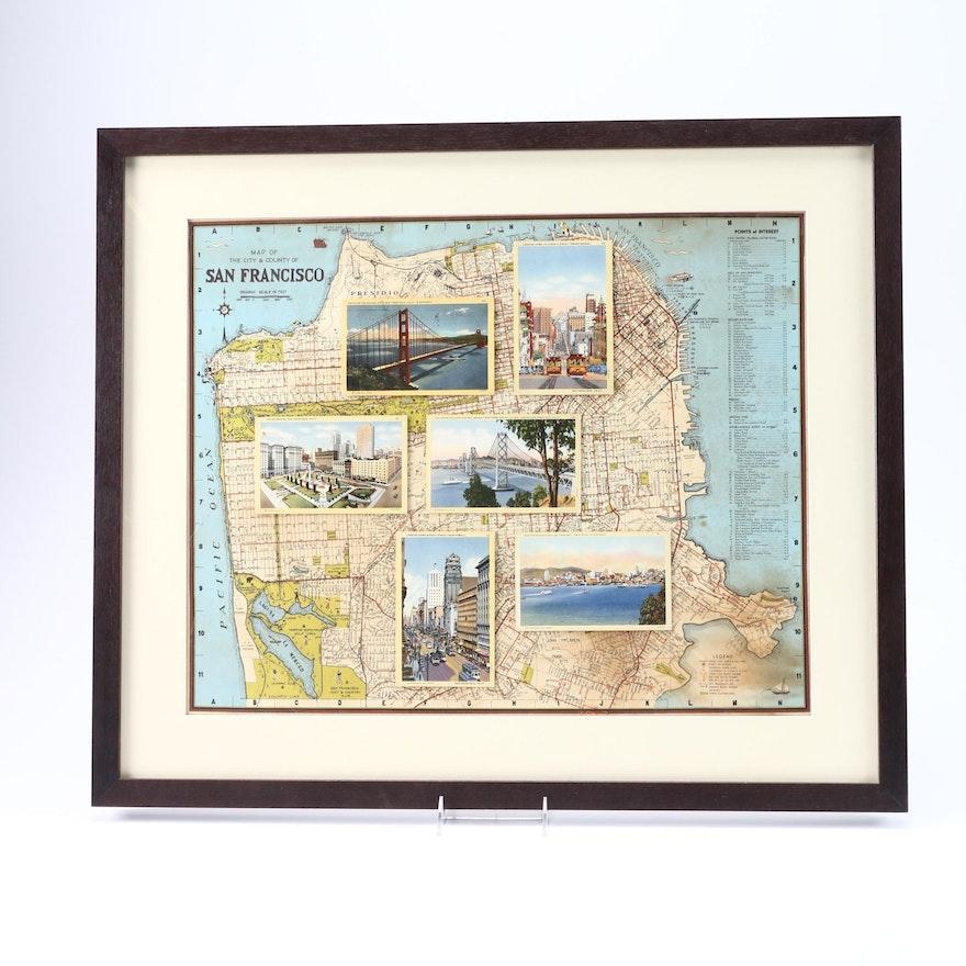 Map of San Francisco Featuring Postcard Souvenirs. : EBTH