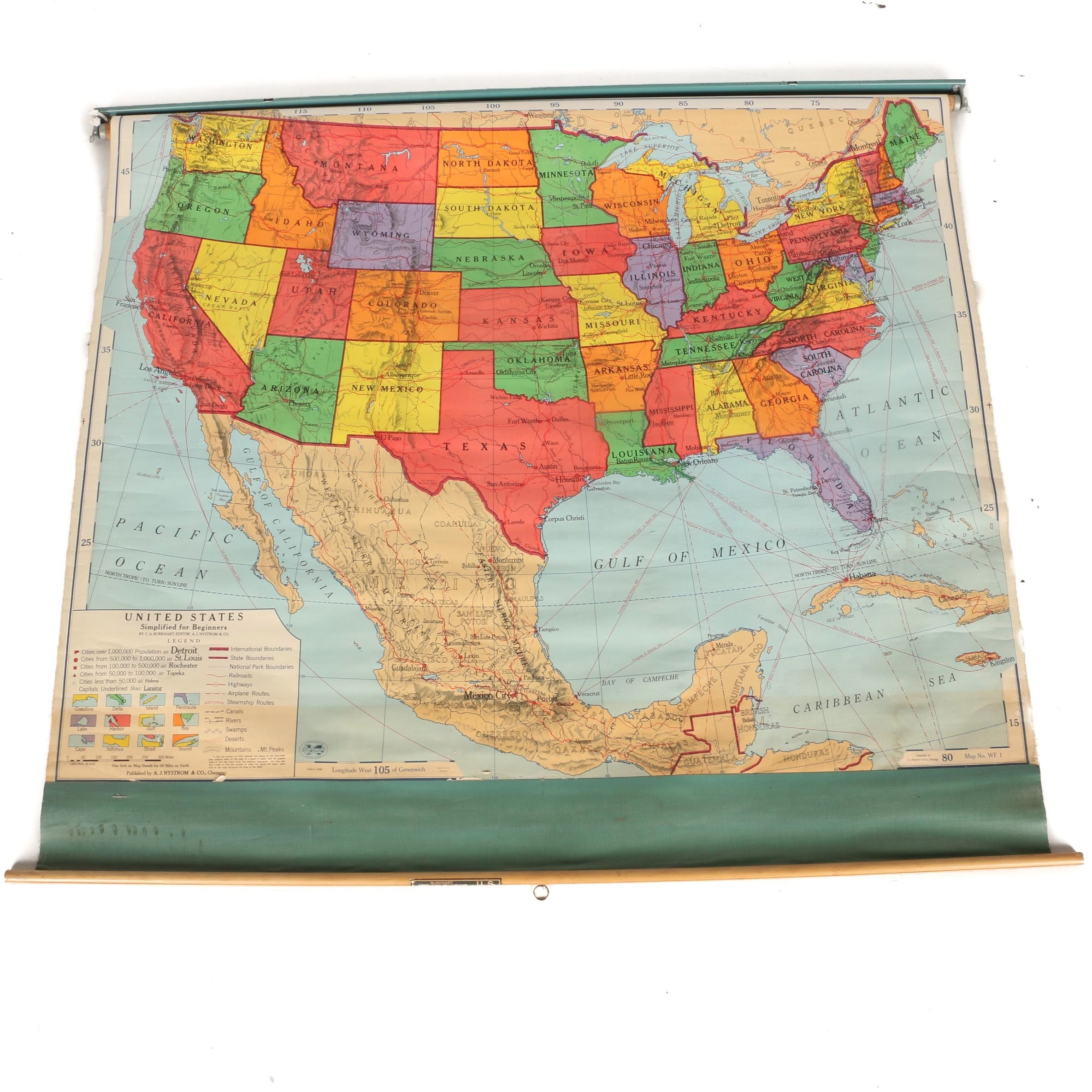 Nystrom World Map.1956 Classroom Map Of United States By A J Nystrom Co Ebth
