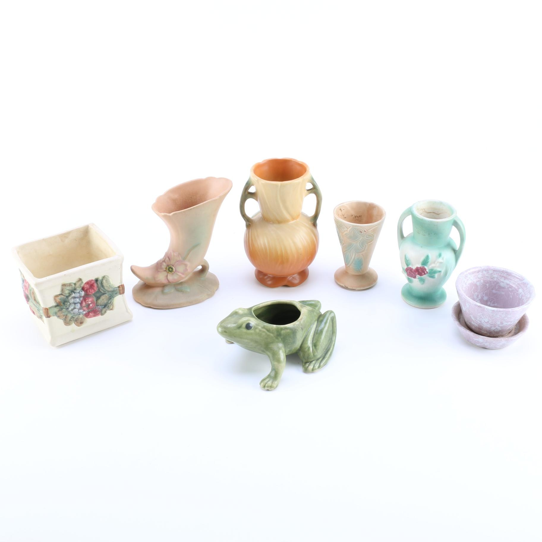 Collection of Vintage Pottery Vases Including Weller
