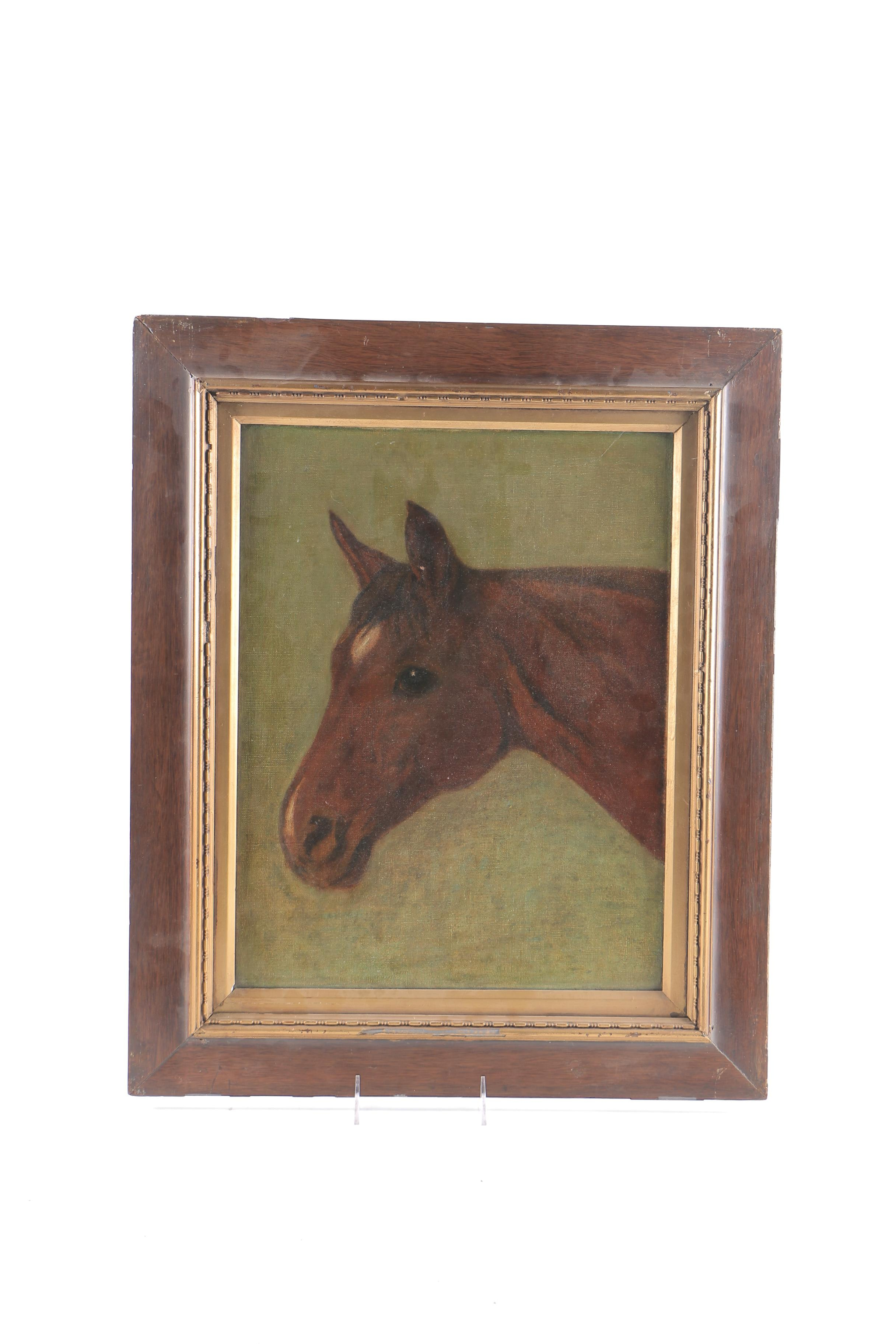 """Attributed to G.B Rosher Oil Painting on Canvas """"Horse"""""""