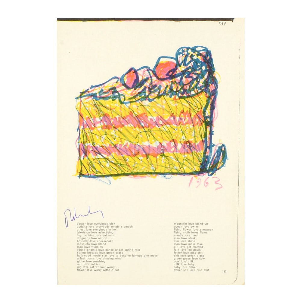 """Claes Oldenburg Signed Lithograph """"Slice of Cake"""" from the """"One Cent Life"""" Portfolio"""