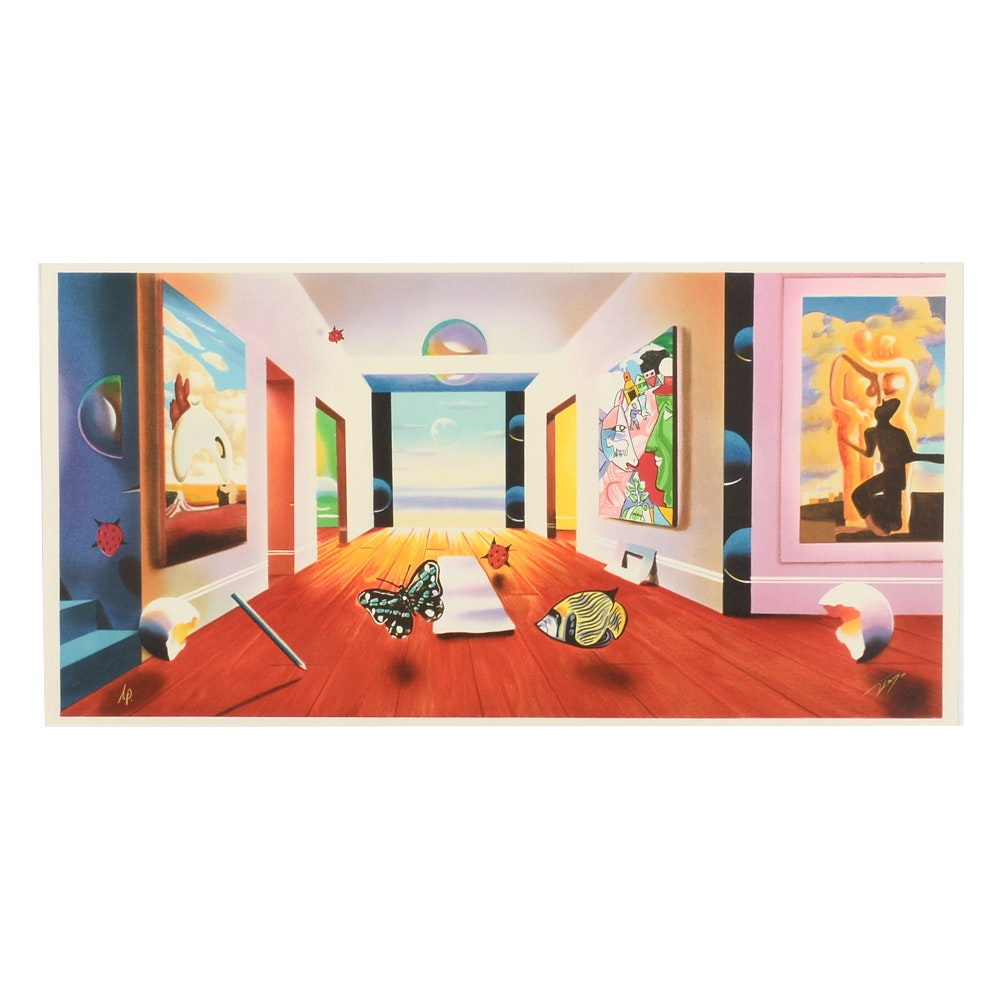 "Ferjo Signed Artist's Proof Hand-Pulled Lithograph ""Hallway to Infinity"""