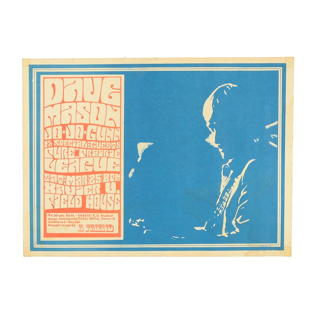 Vintage Dave Mason Concert at Xavier University Poster