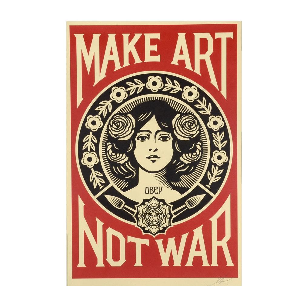 """Shepard Fairey Signed 2016 Open Edition Giclée """"Make Art Not War"""""""