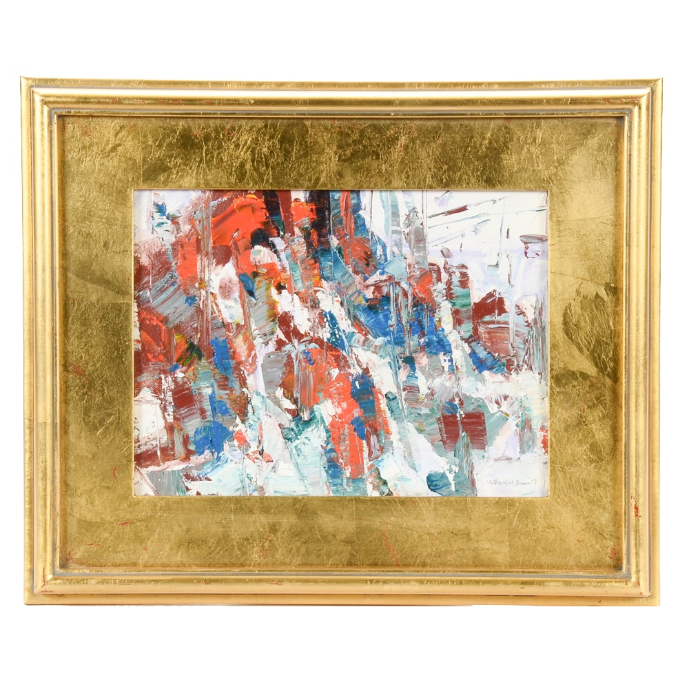 Jack Meanwell Original 1999 Abstract Expressionist Oil on Canvas Board