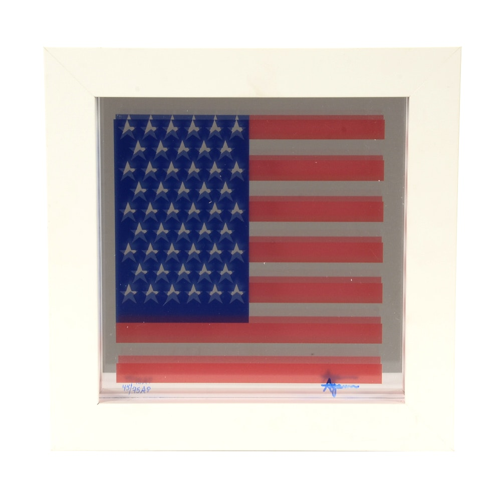 "Yaacov Agam Signed Limited Edition Artist's Proof 1976 Serigraph on Mirror ""Spirit of America"""
