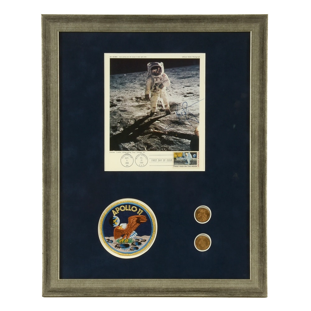 Framed Display of 1969 Neil Armstrong Autograph with COA and other Official NASA Collectibles