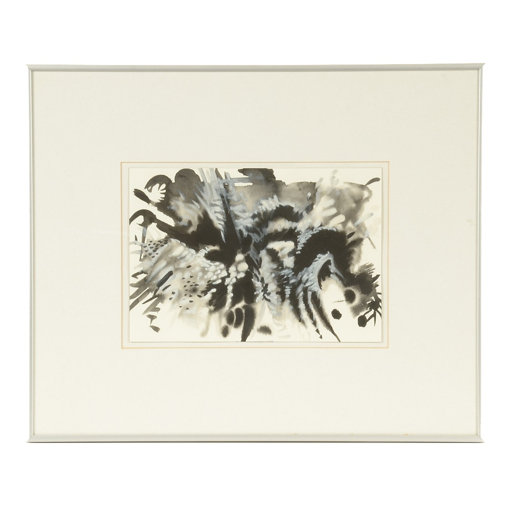 "Nancy Fletcher Cassell Original 1988 Sumi Ink & Gouache on Paper ""Evening Fantasy"""