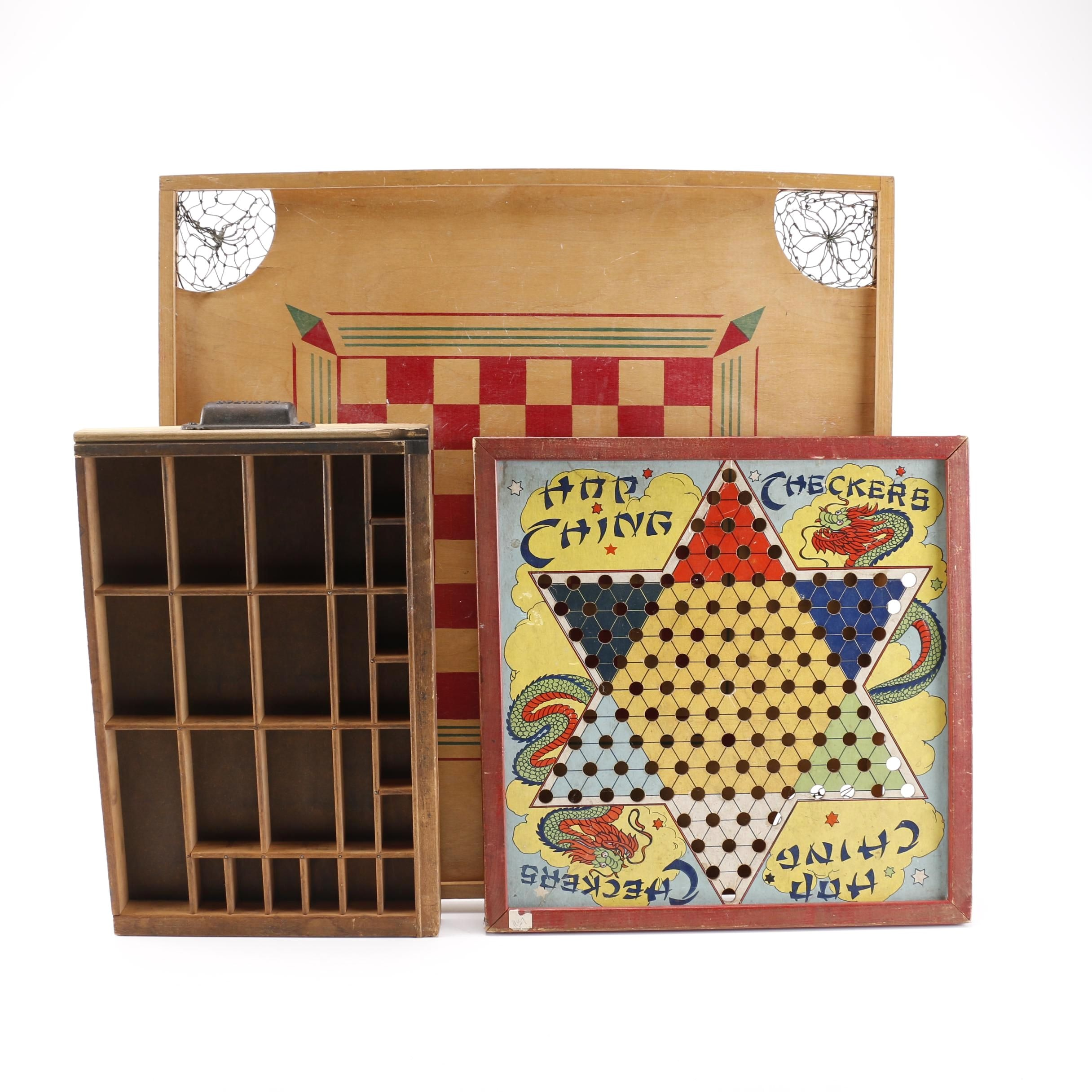 Collection of Game Boards and a Printer's Typeset Tray