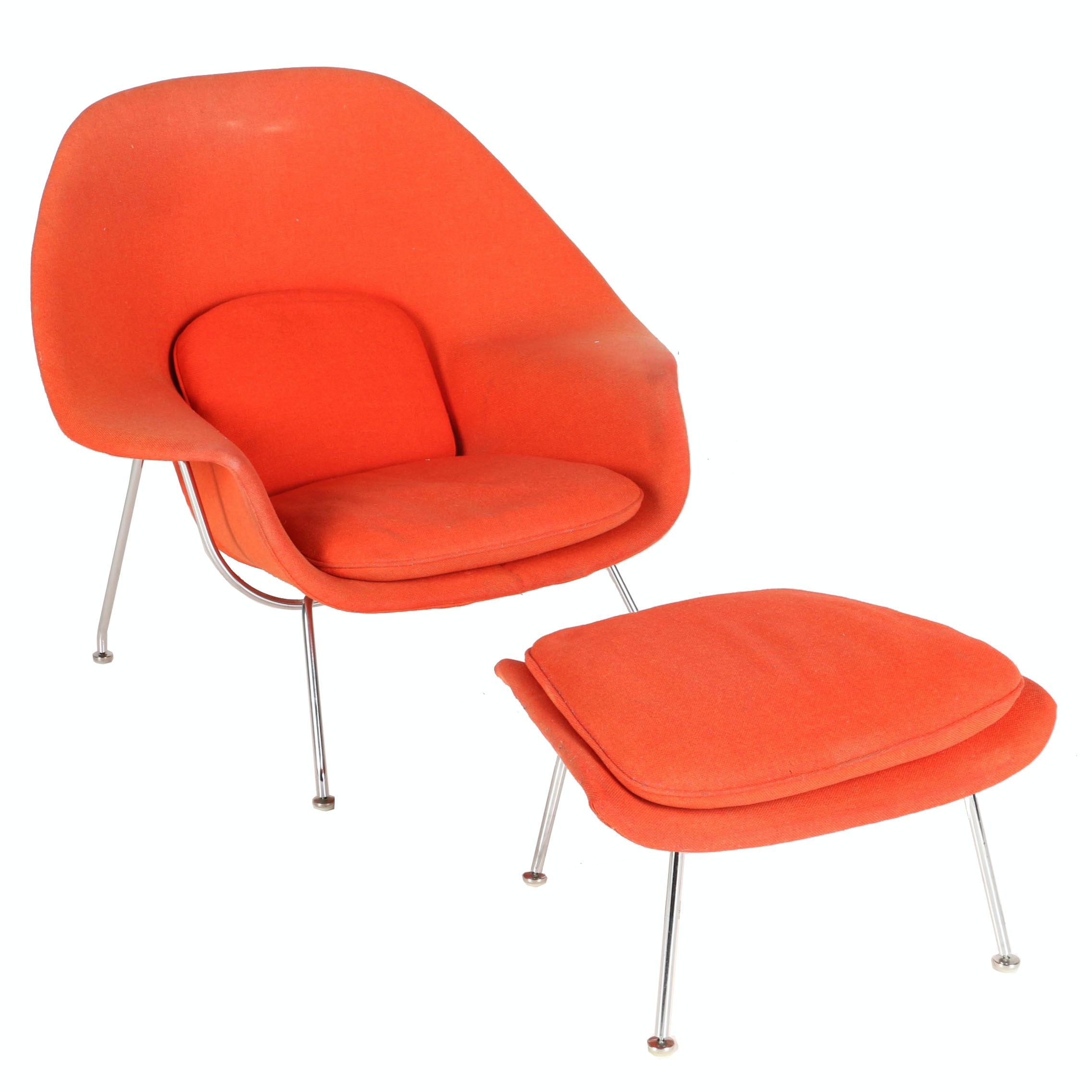 """Mid Century Modern """"Womb"""" Chair and Ottoman by Eero Saarinen for Knoll With Provenance"""