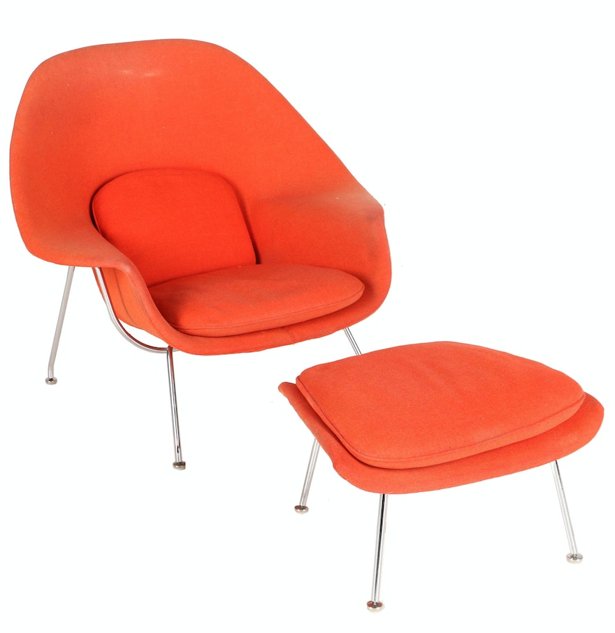 Mid century modern womb chair and ottoman by eero saarinen for knoll with provenance ebth - Mid century modern chair and ottoman ...