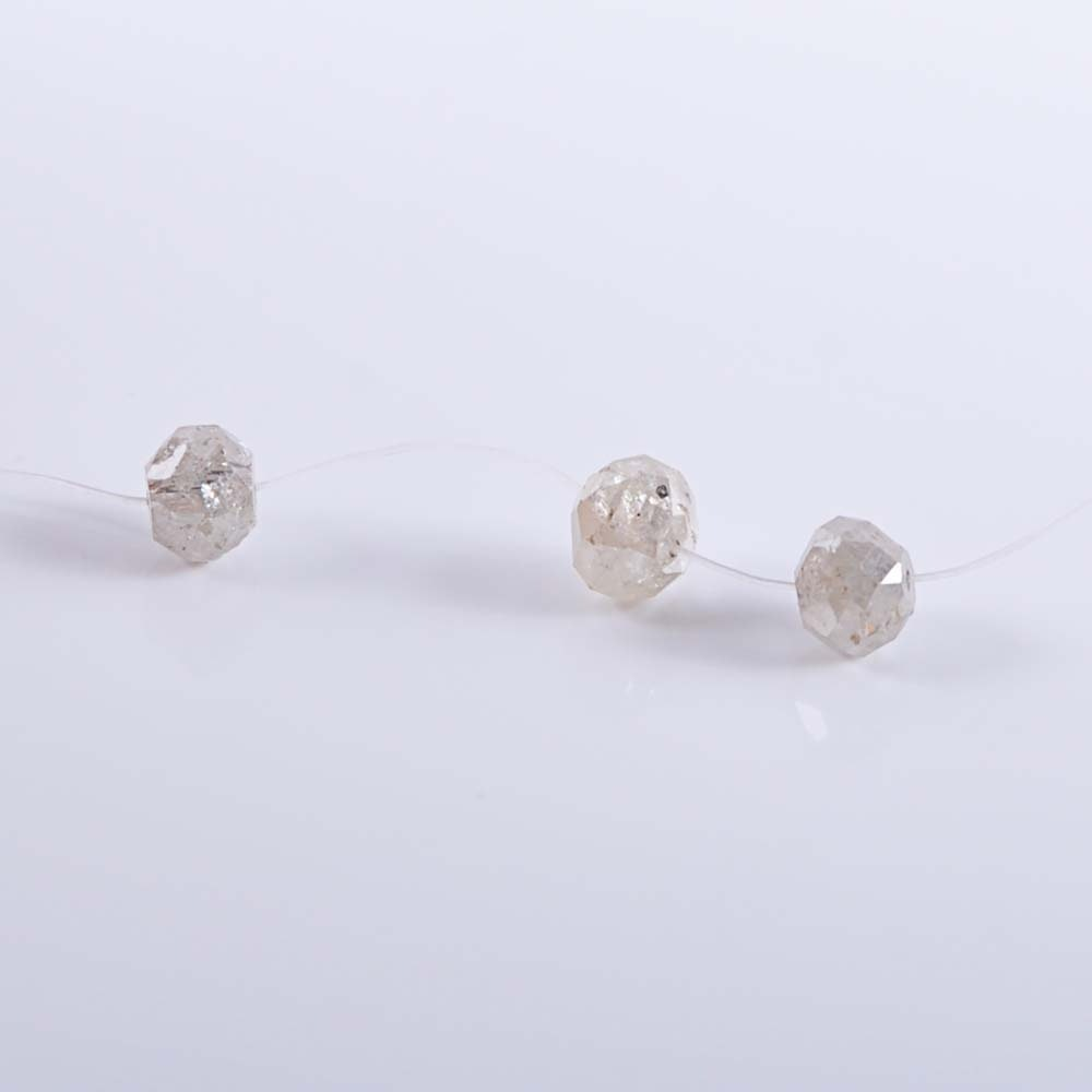 Three Faceted Diamond Beads