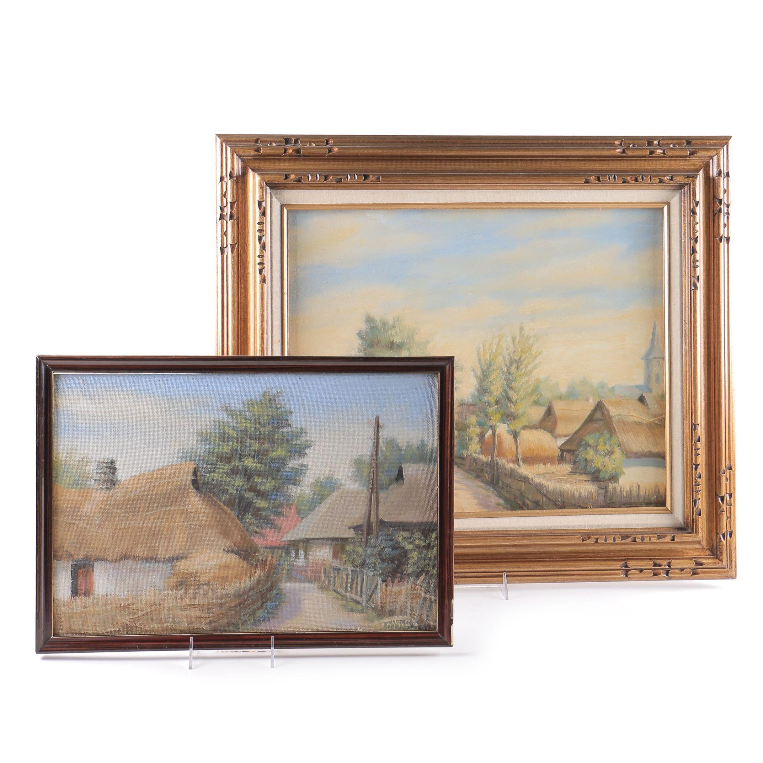 Original Oil on Board Paintings of Village Scenes