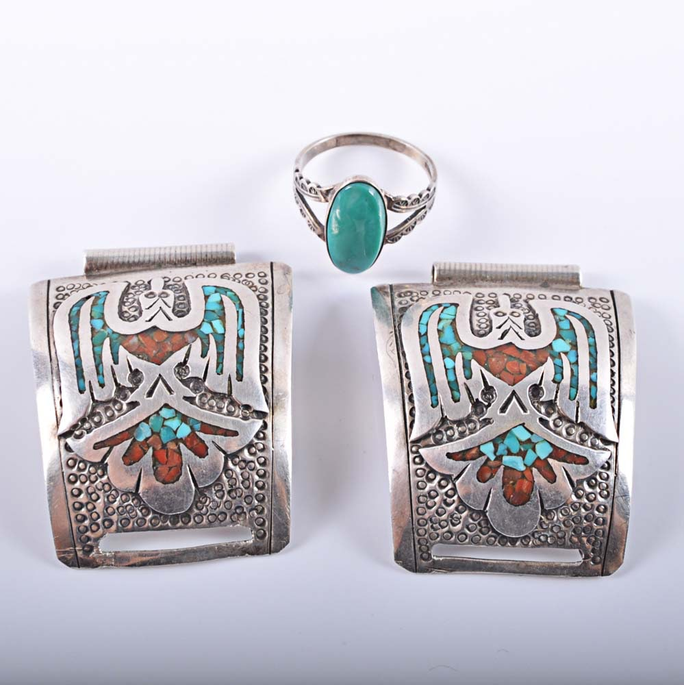 Sterling Silver Turquoise Watch Band and Ring
