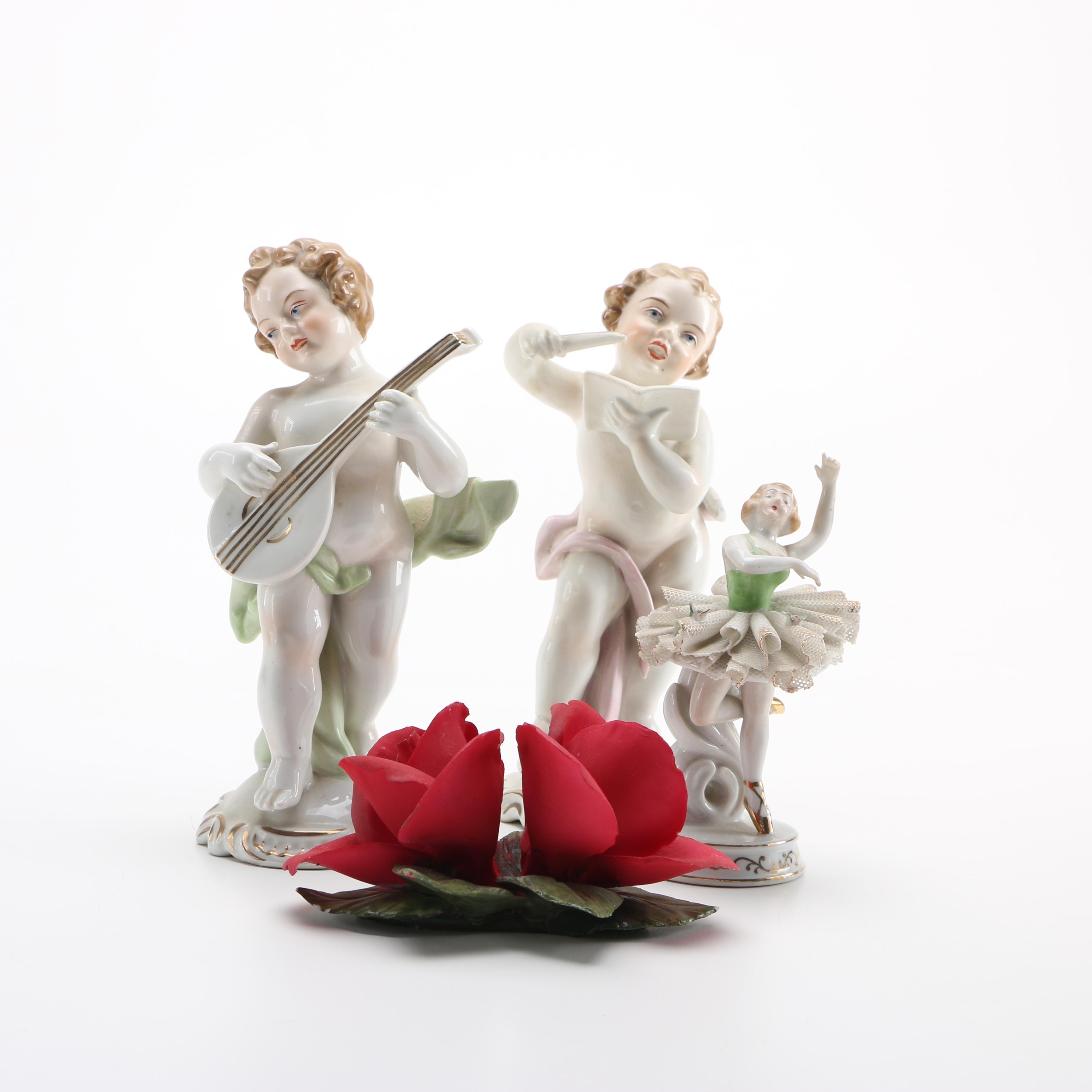 Porcelain Figurines Including Capodimonte and Otzens