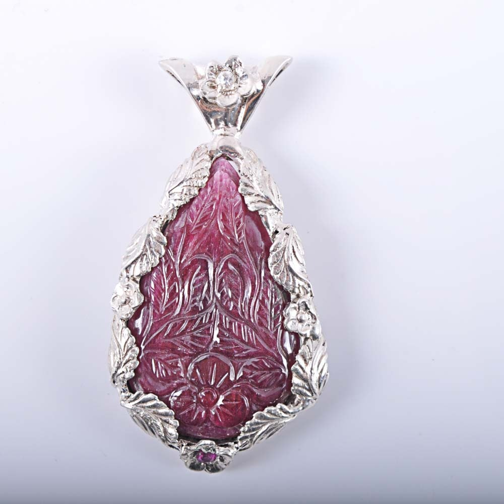 Sterling Silver Carved Floral Ruby and Diamond Pendant