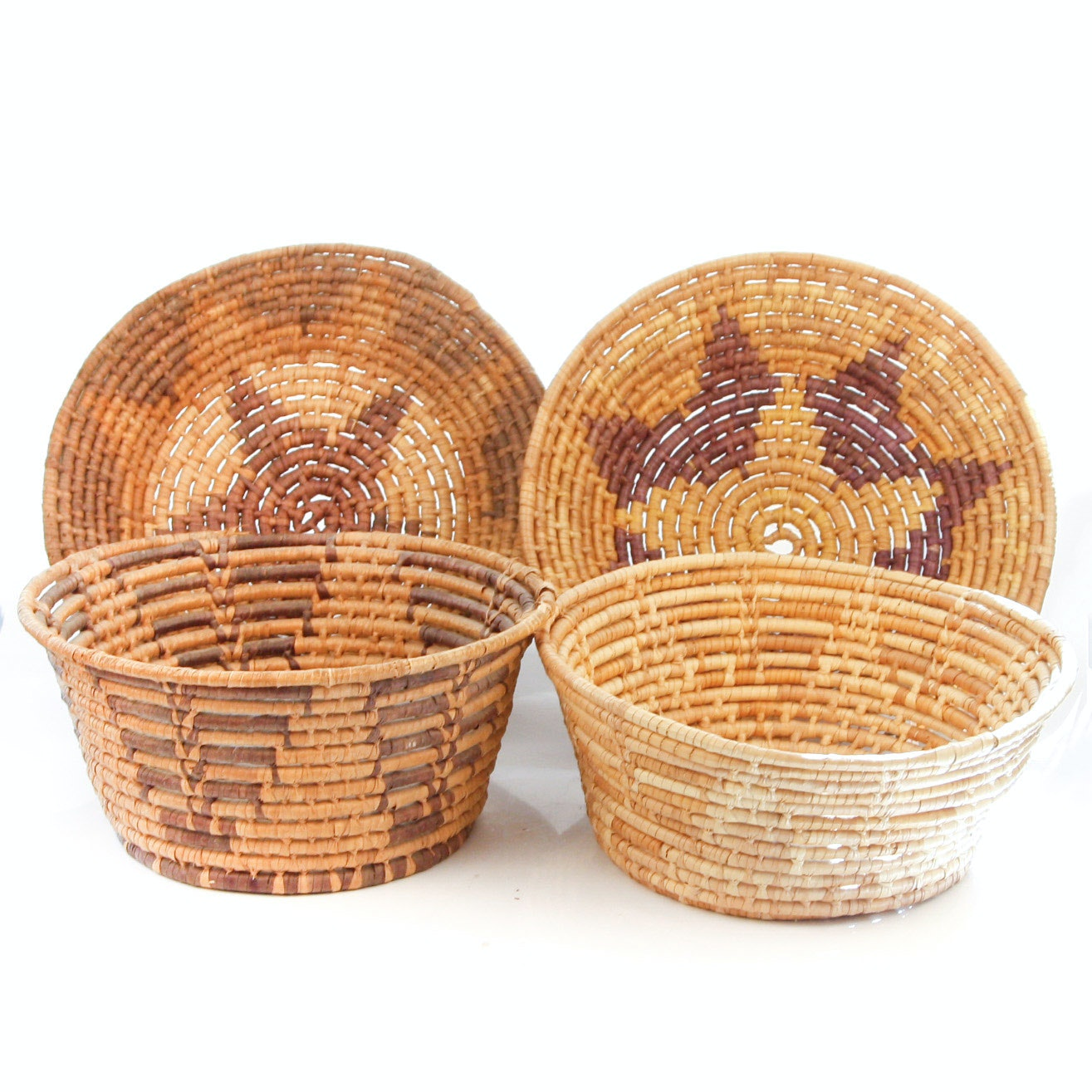 Collection of Four Woven Coiled Baskets