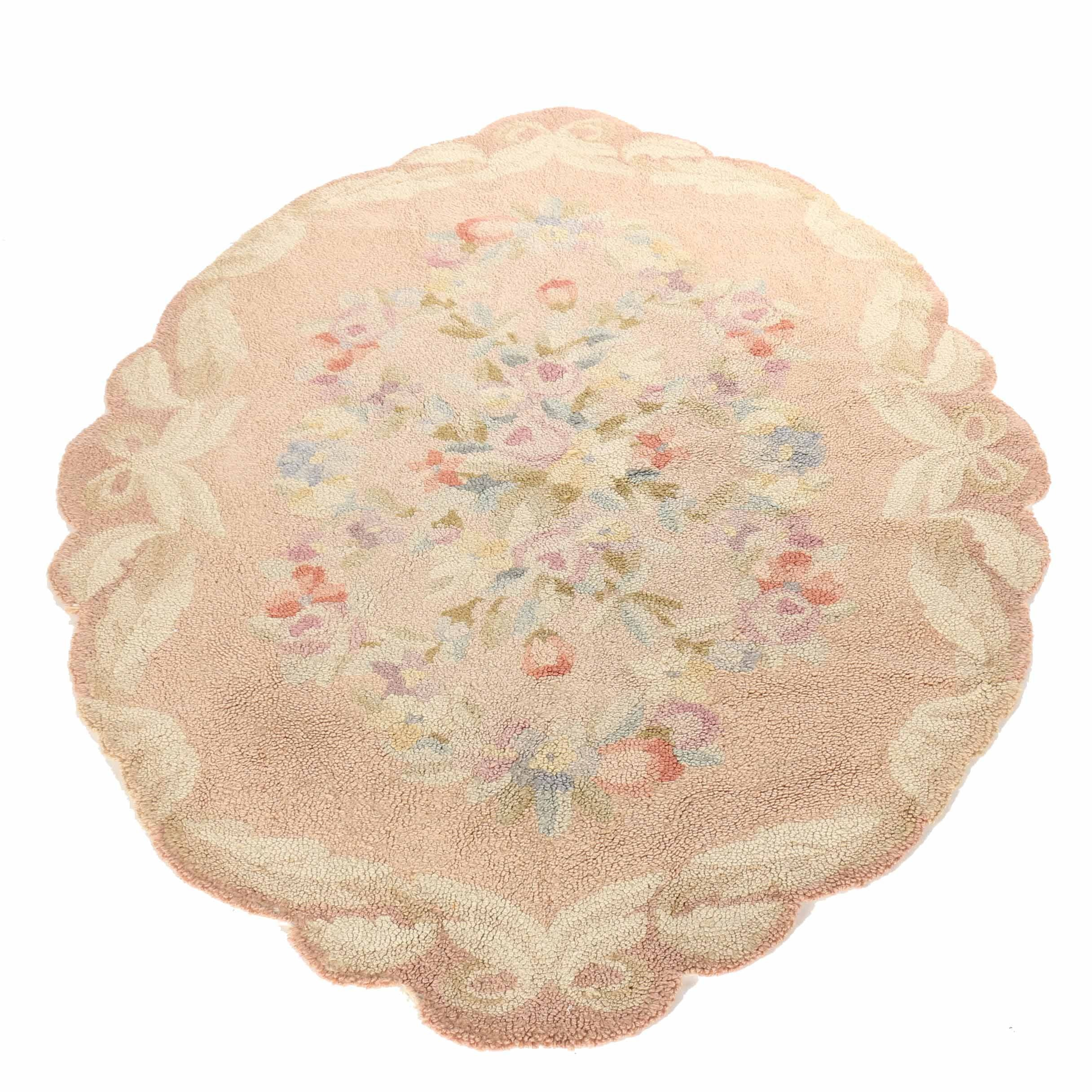Oval Dusty Rose Hooked Floral Rug