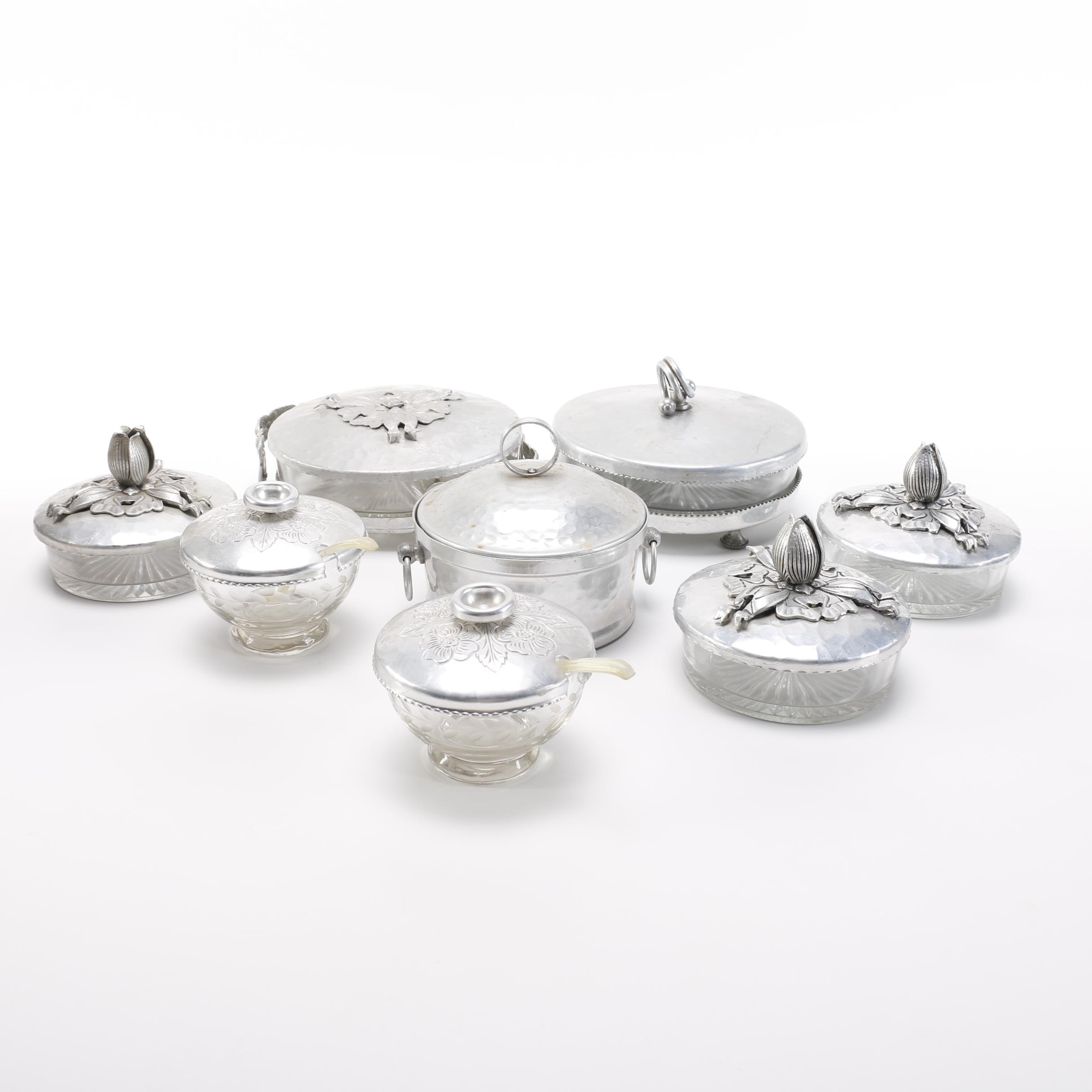Collection Of Vintage Aluminum Ware With Glass Bases