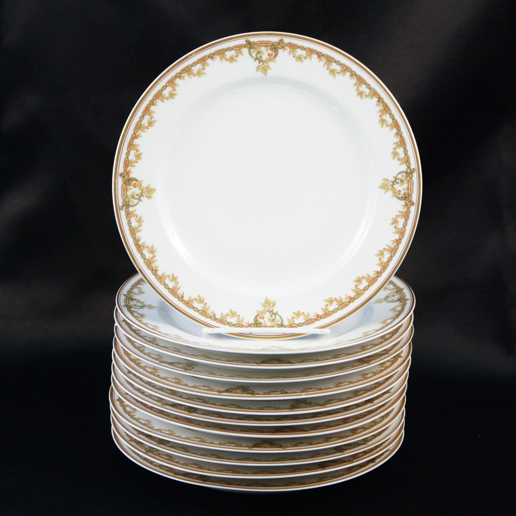 Set of Twelve Haviland & Co. Limoges France Porcelain Dessert Plates