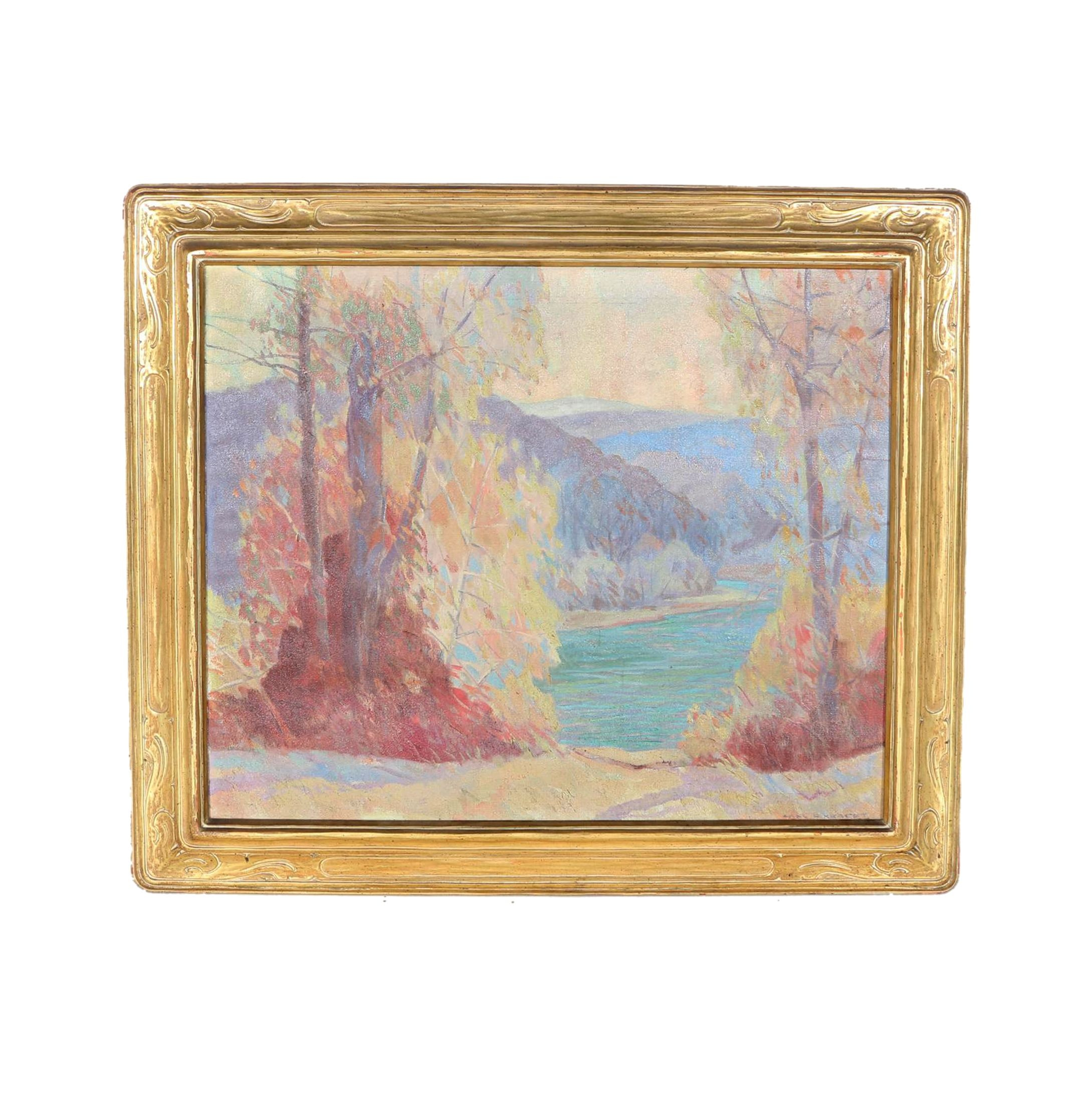 "Carl Rudolph Krafft Oil on Canvas ""Autumn Light, Ozarks"""