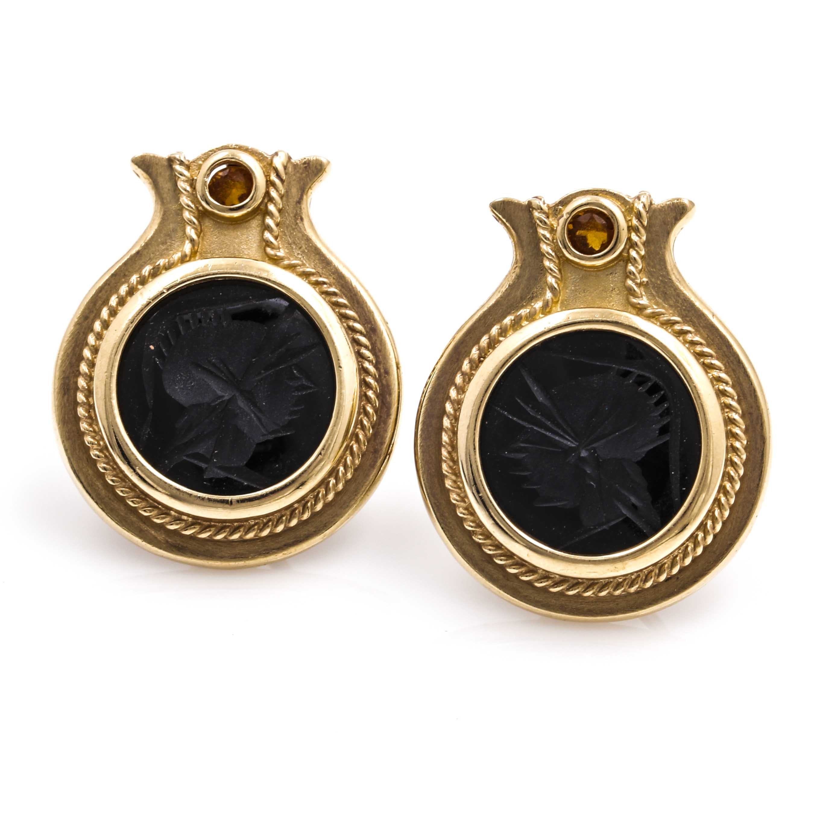 14K Yellow Gold Black Onyx Intaglio Cameo and Citrine Earrings
